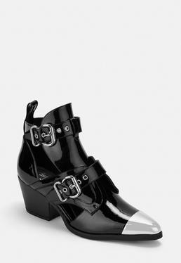 Черные сапоги из лакированной кожи с вырезом в стиле вестерн