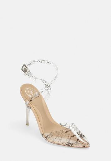 Nude Clear Snake Print Court Heels by Missguided