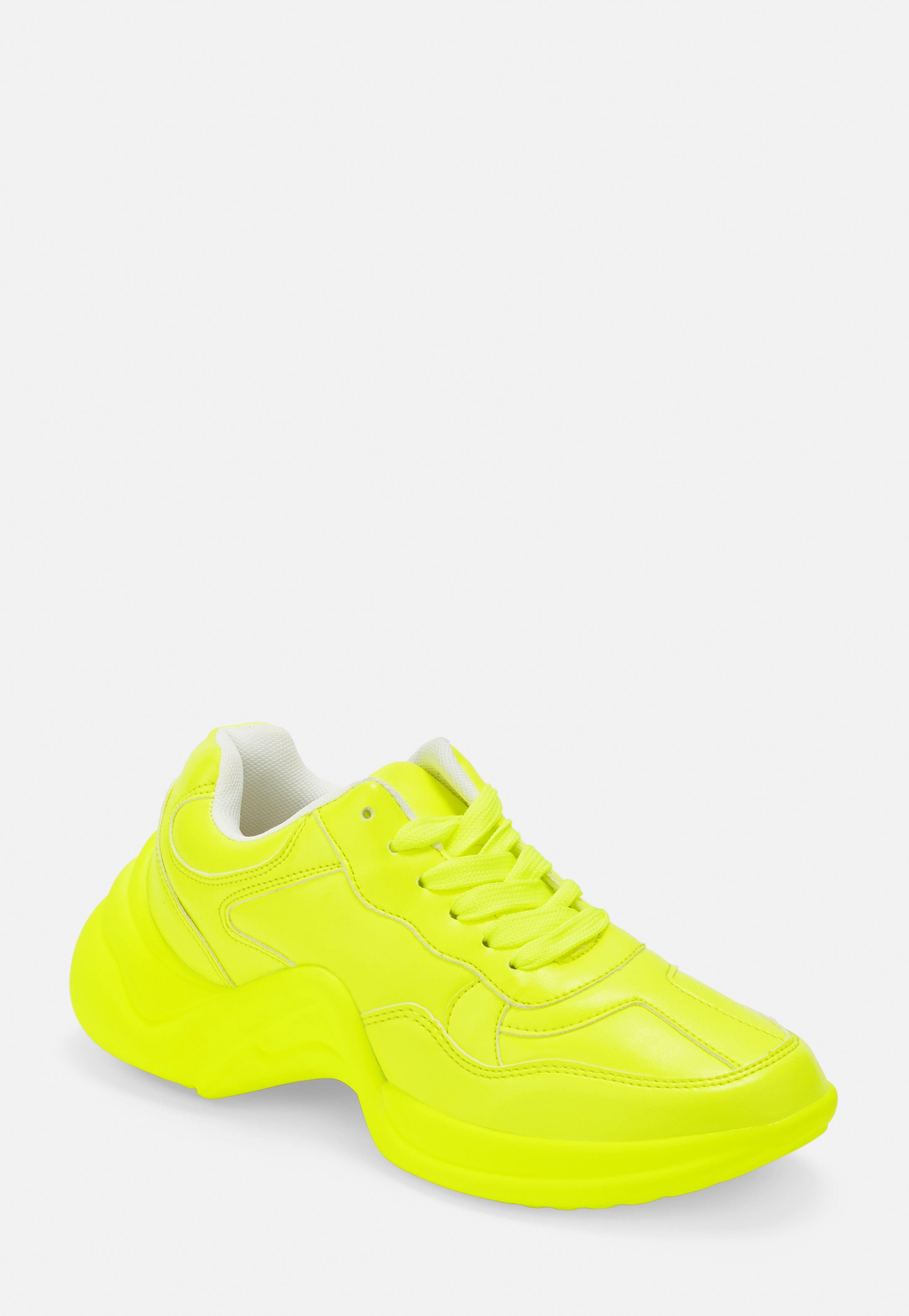 sports shoes 35ee5 b91d1 Neon Yellow Chunky Sole Sneakers