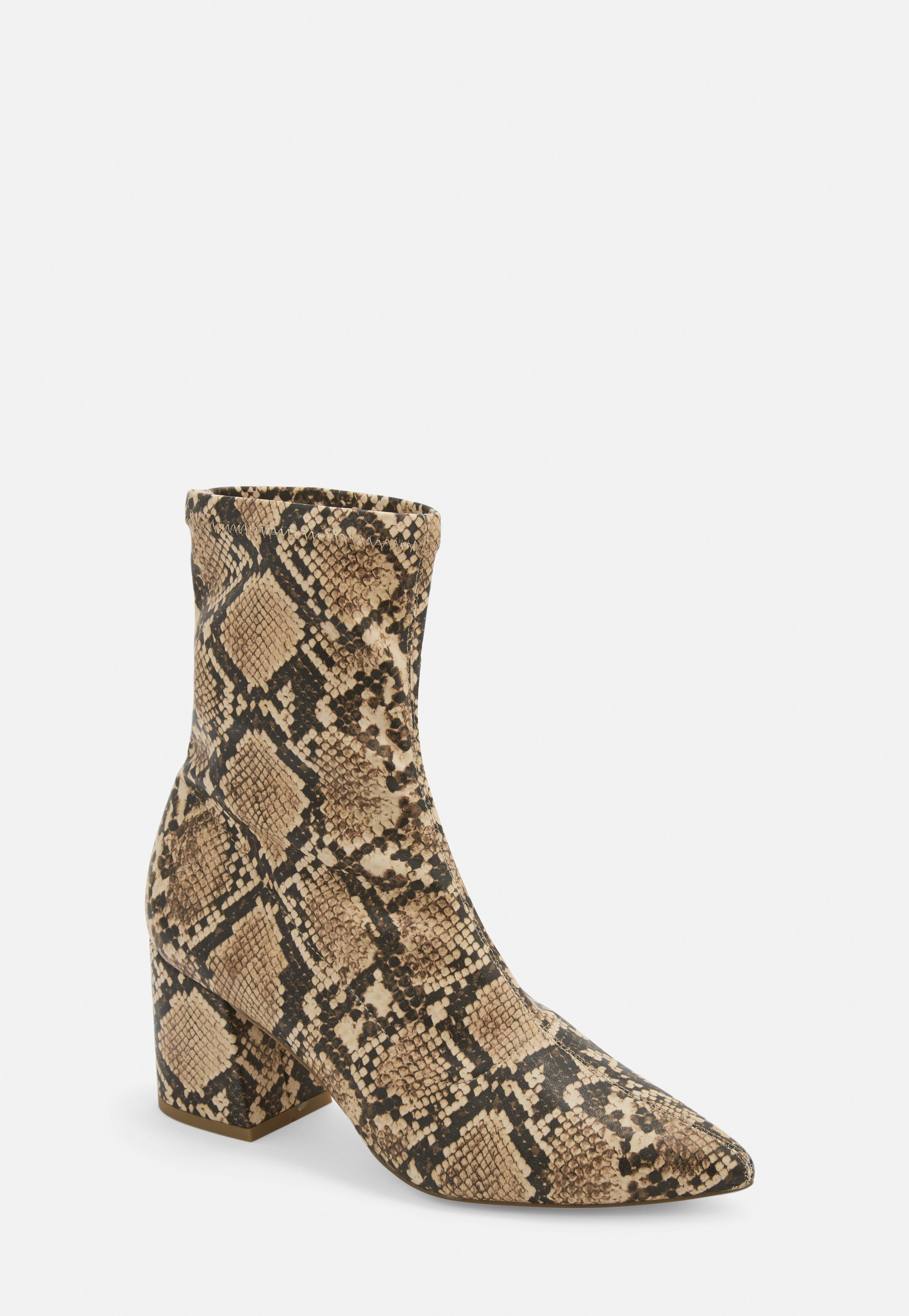 ba4ccd996766d Nude Snake Print Pointed Toe Mid Heel Sock Boots