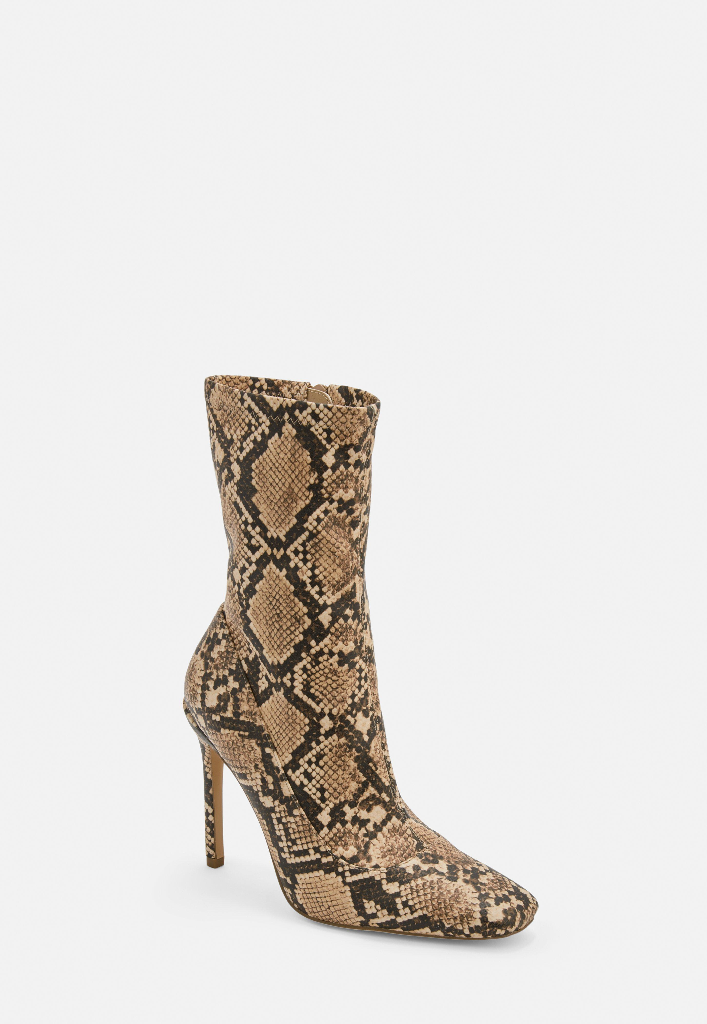 8145645eebe Nude Snake Print Square Toe Stiletto Heel Boots