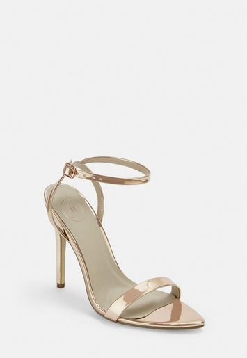 Rose Gold Patent Pointed Barely There Heels by Missguided