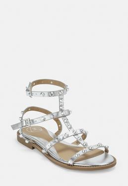 Гладиаторские сандалии с заклепками в виде купола Silver Look