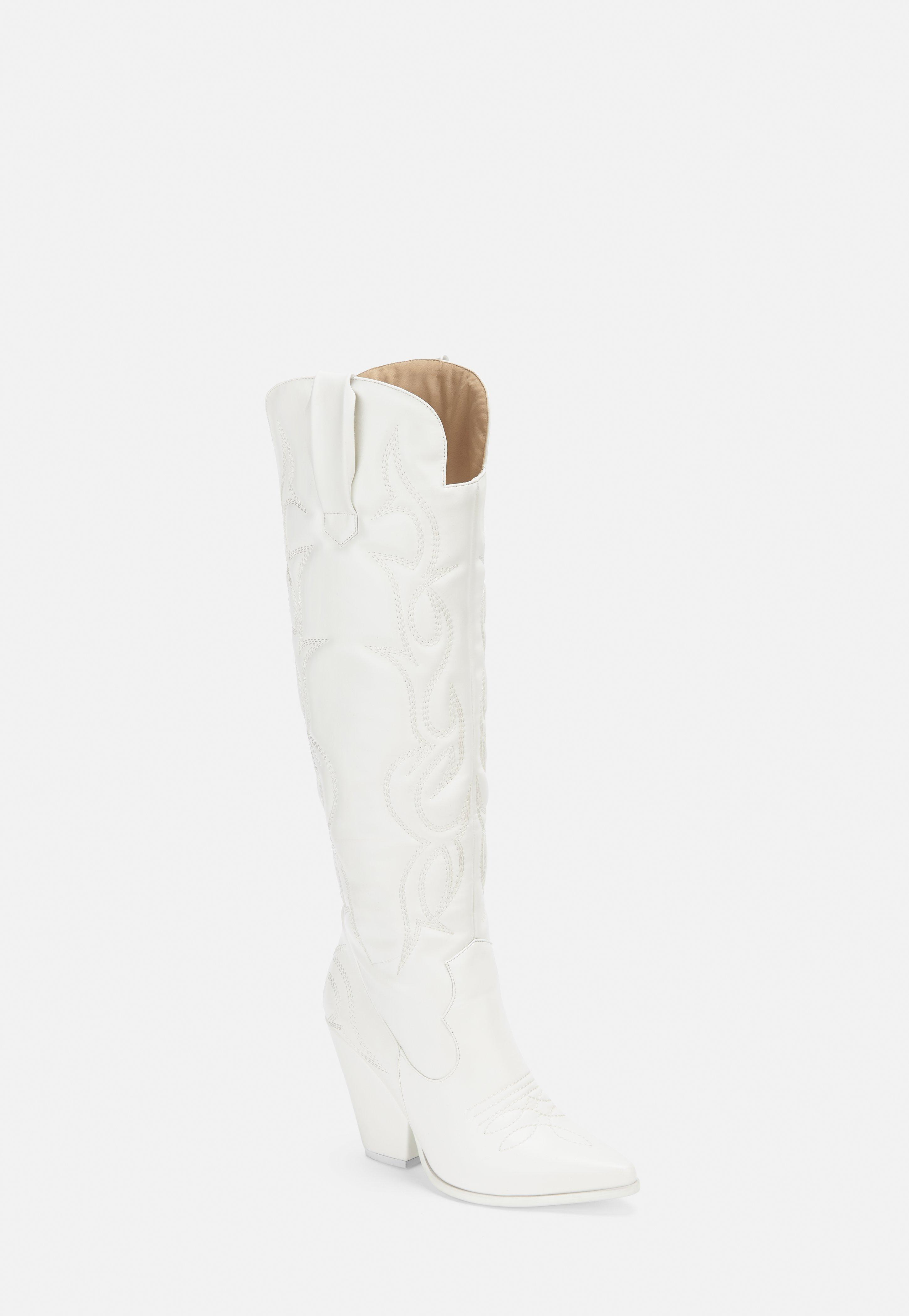 6c8cad532bf White Padded Western Knee High Boots