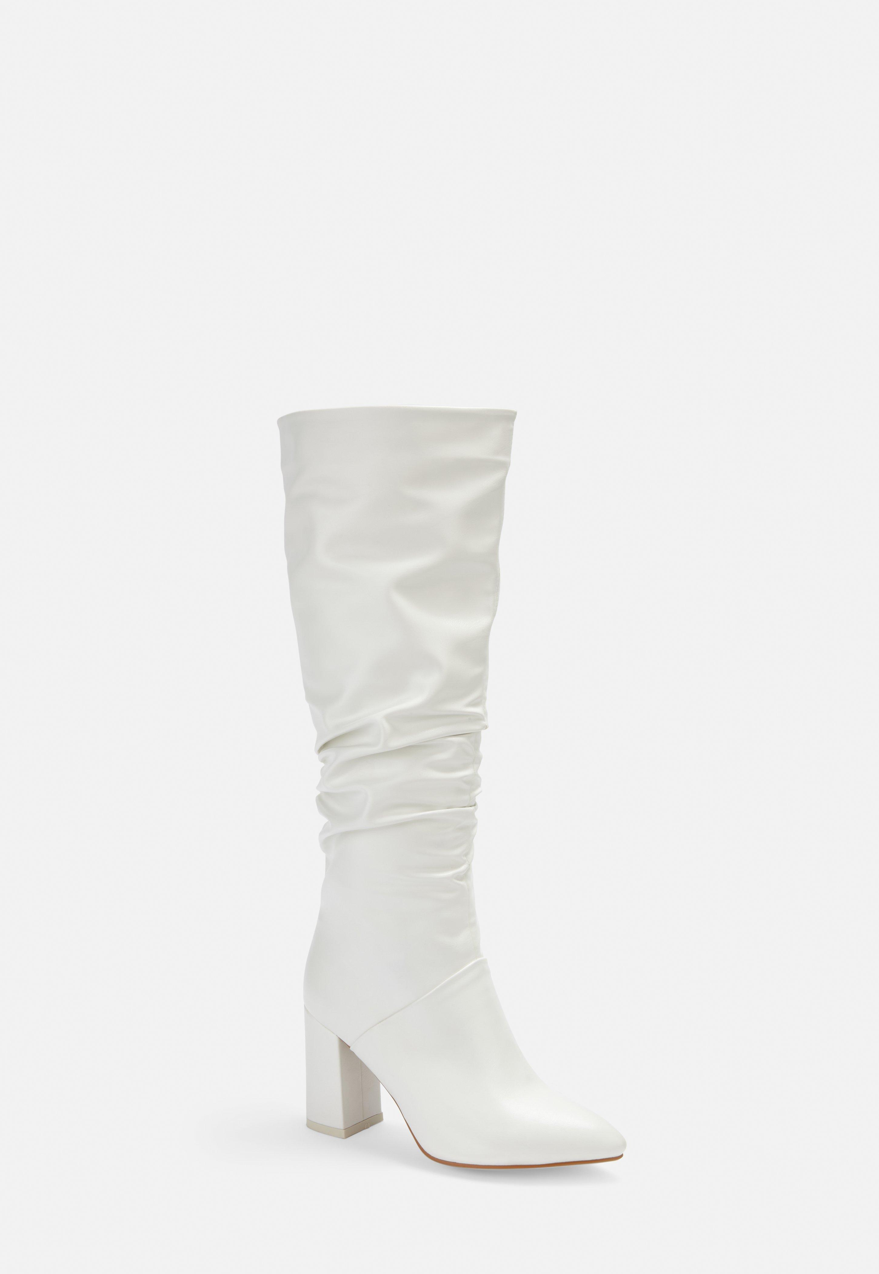f1a4bfd687d9c White Faux Leather Ruched Pointed Toe Knee Boots