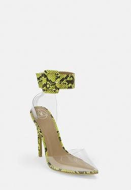 7b9edcbb4a White Patent Pumps; Lime Snake Print Ankle Buckle Clear Pumps