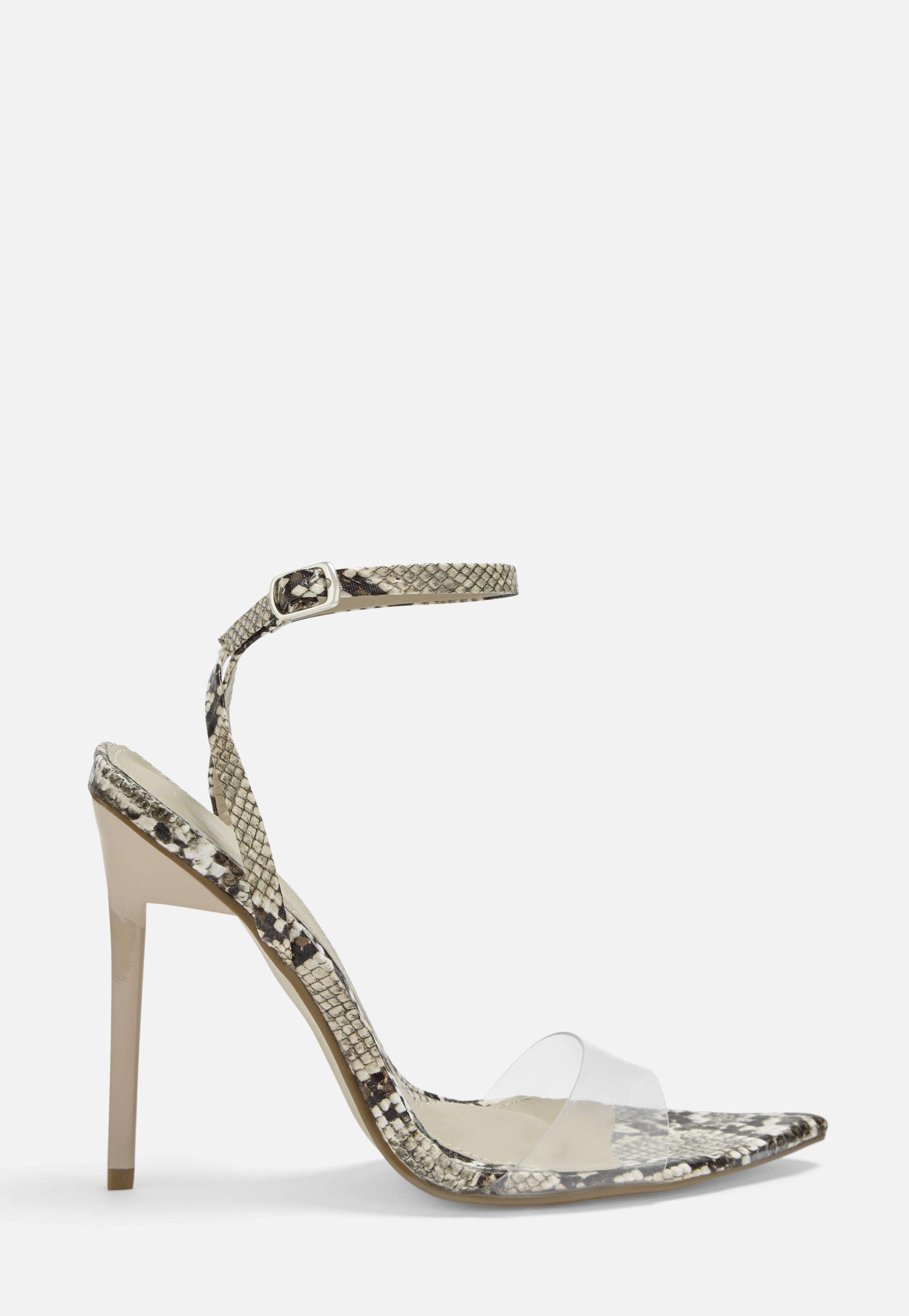 4e61e3e449c Beige Snake Print Transparent Strap Heels
