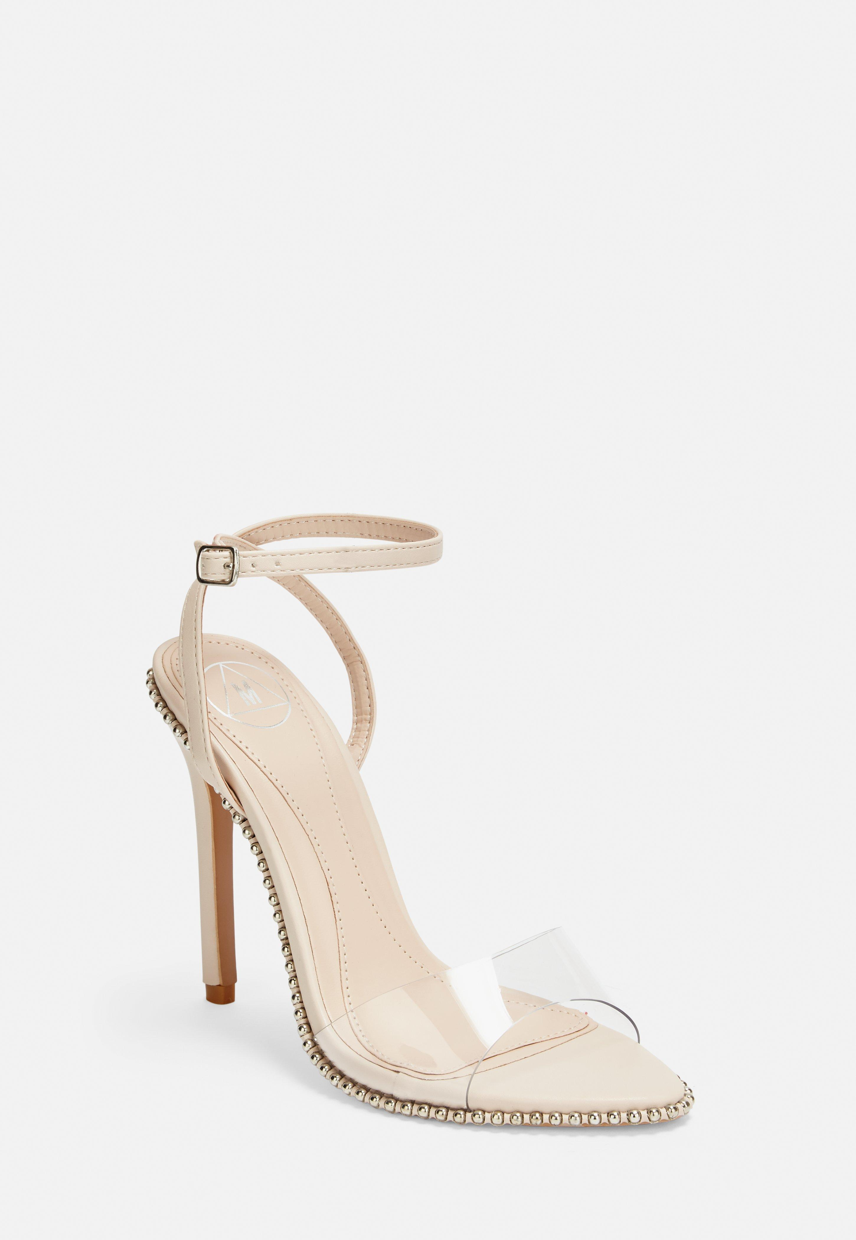 100c74a154 Nude Ball Trim Clear Barely There Heels