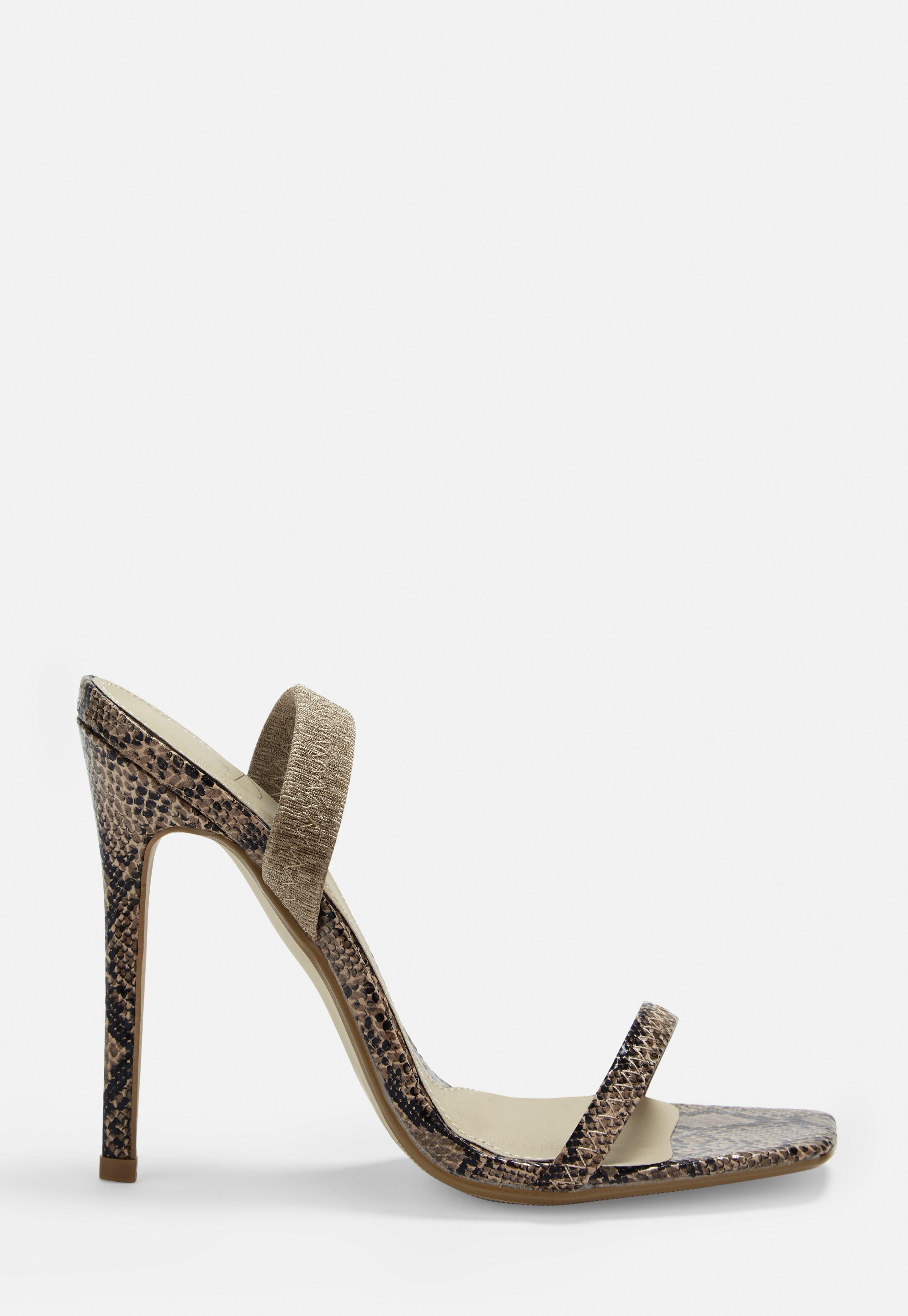 90c55e92519 Beige Snake Print Elastic Strap Barely There Heels