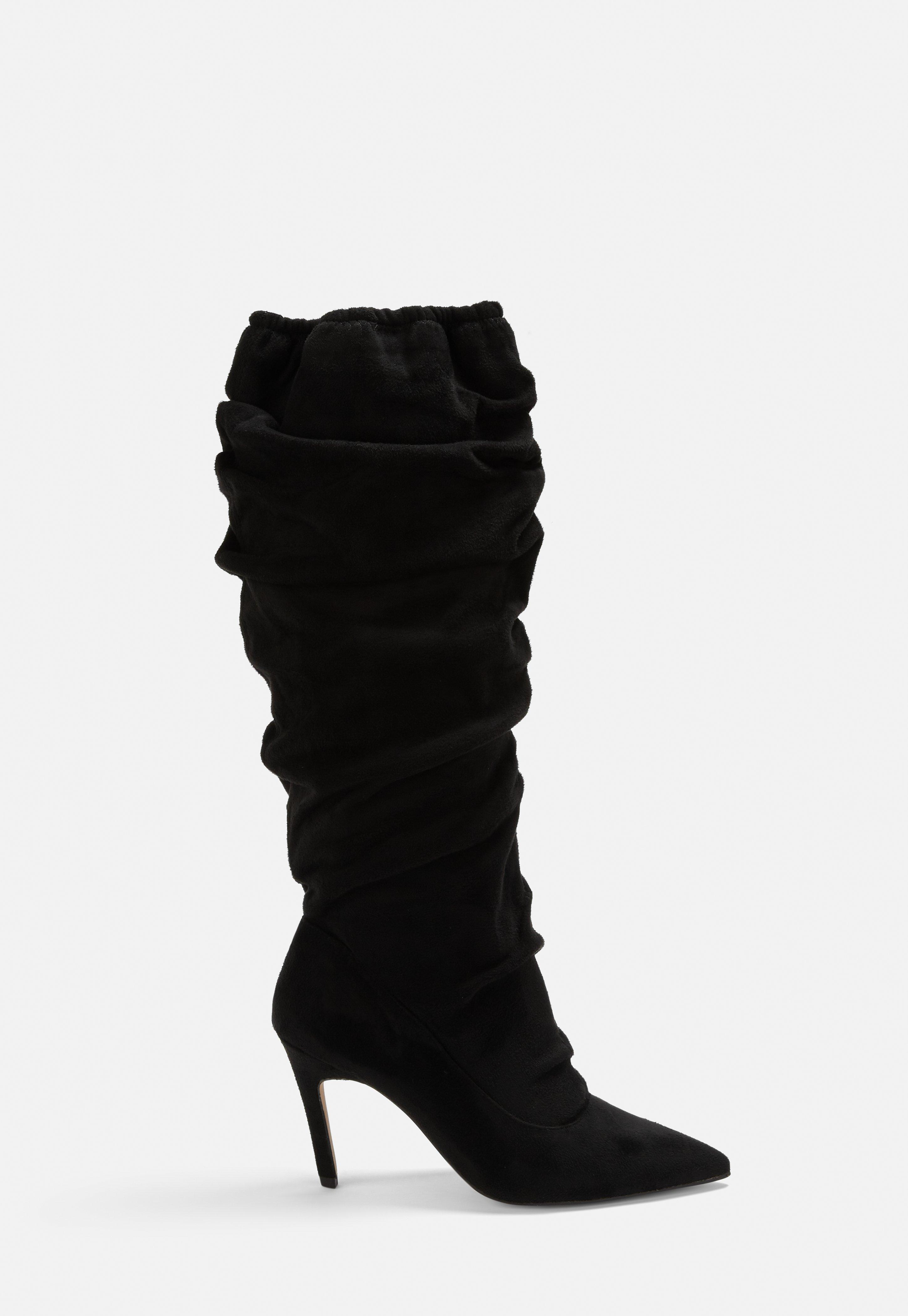 3e84167cf47 Black Faux Suede Ruched Pointed Toe Mid Heel Boots