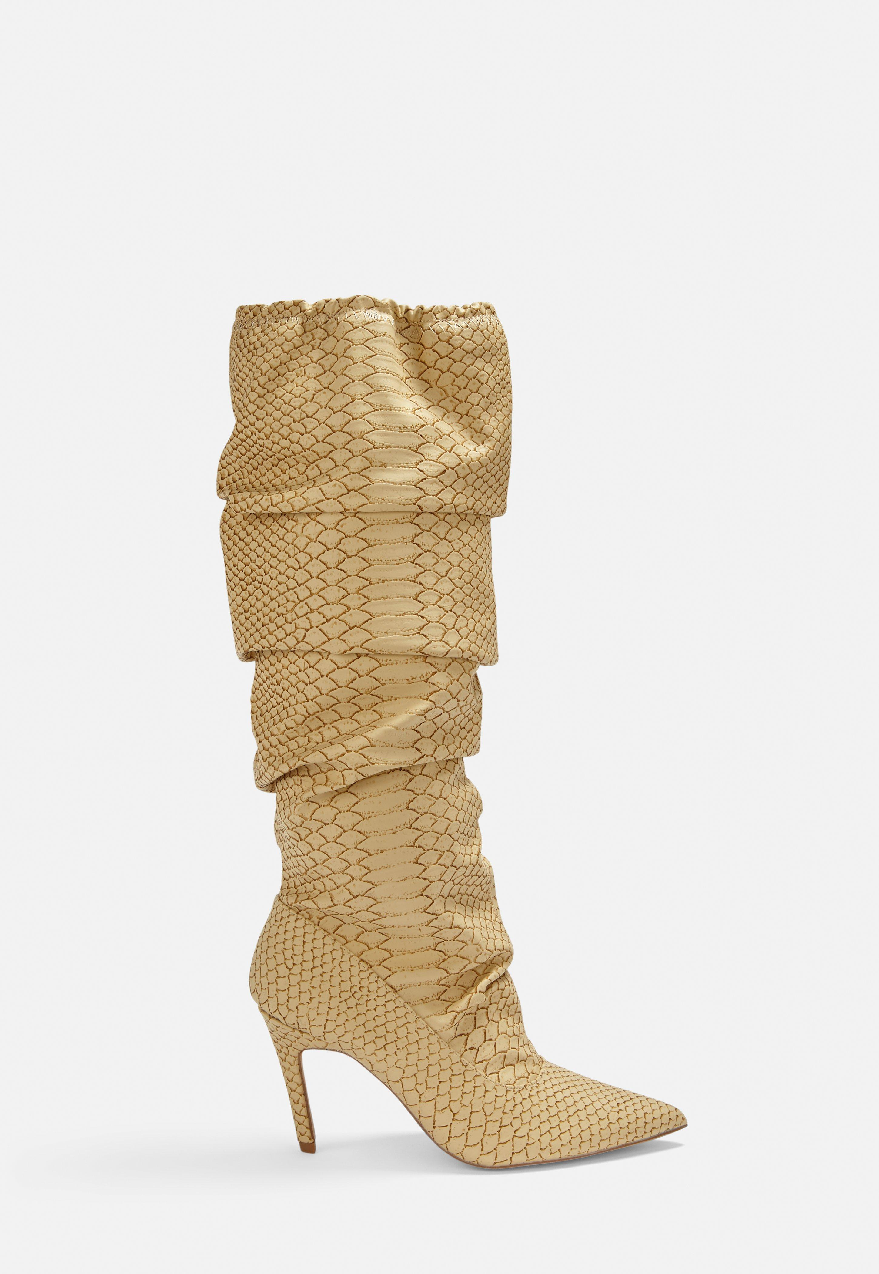 8d005adab54 Beige Snake Print Ruched Pointed Toe Heeled Boots