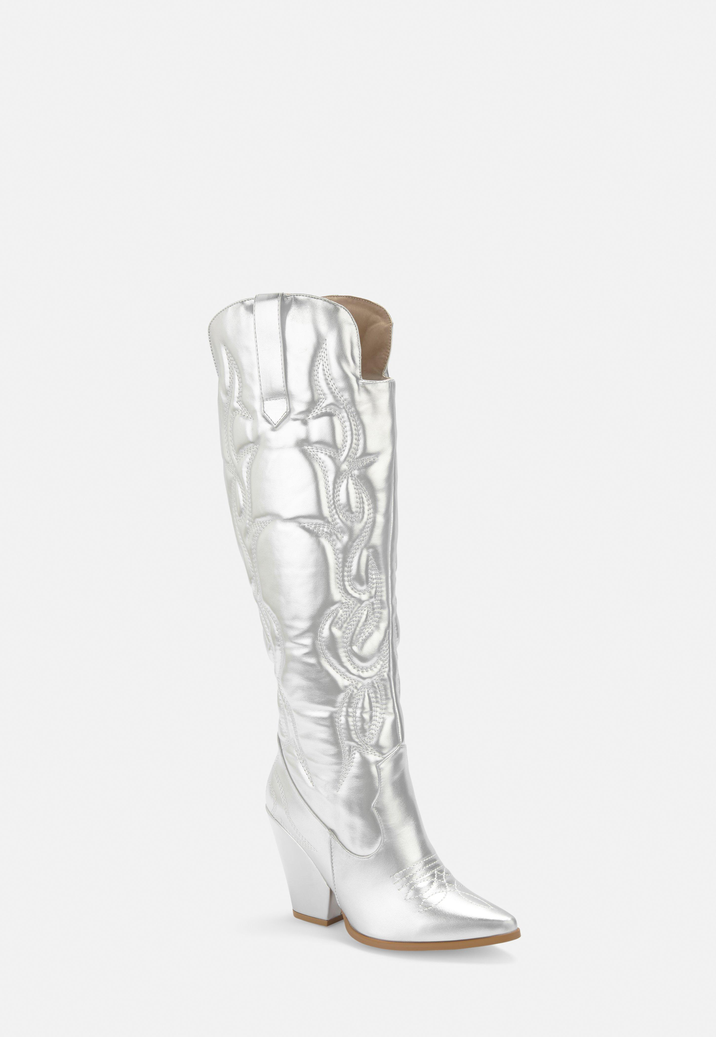 87449883f6b Silver Faux Leather Padded Western Cowboy Boots