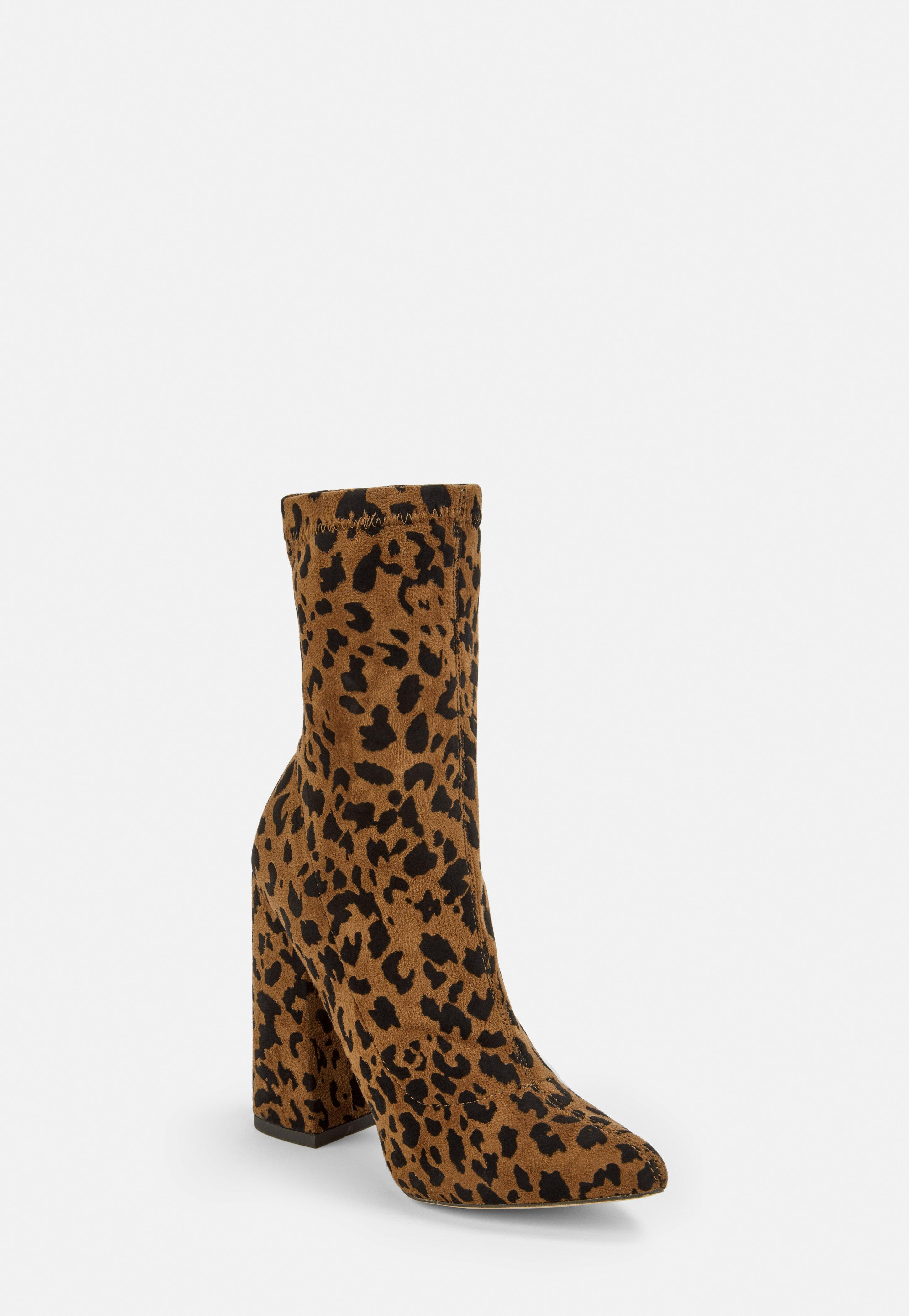 newest 2d5ab 2e241 Brown Leopard Faux Suede Flared Heel Sock Boots