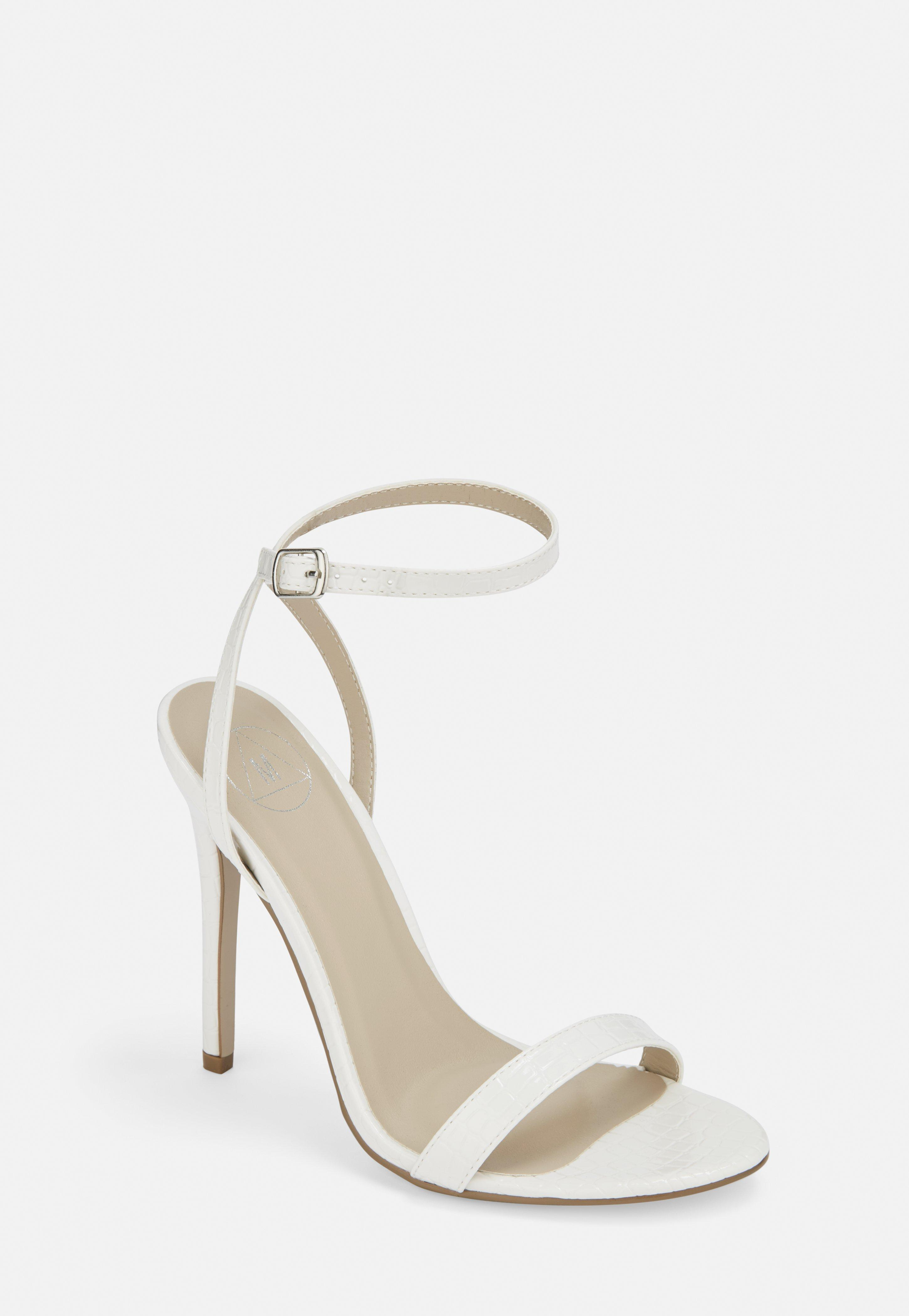 d7ae2b50560 White Croc Basic Barely There Heels