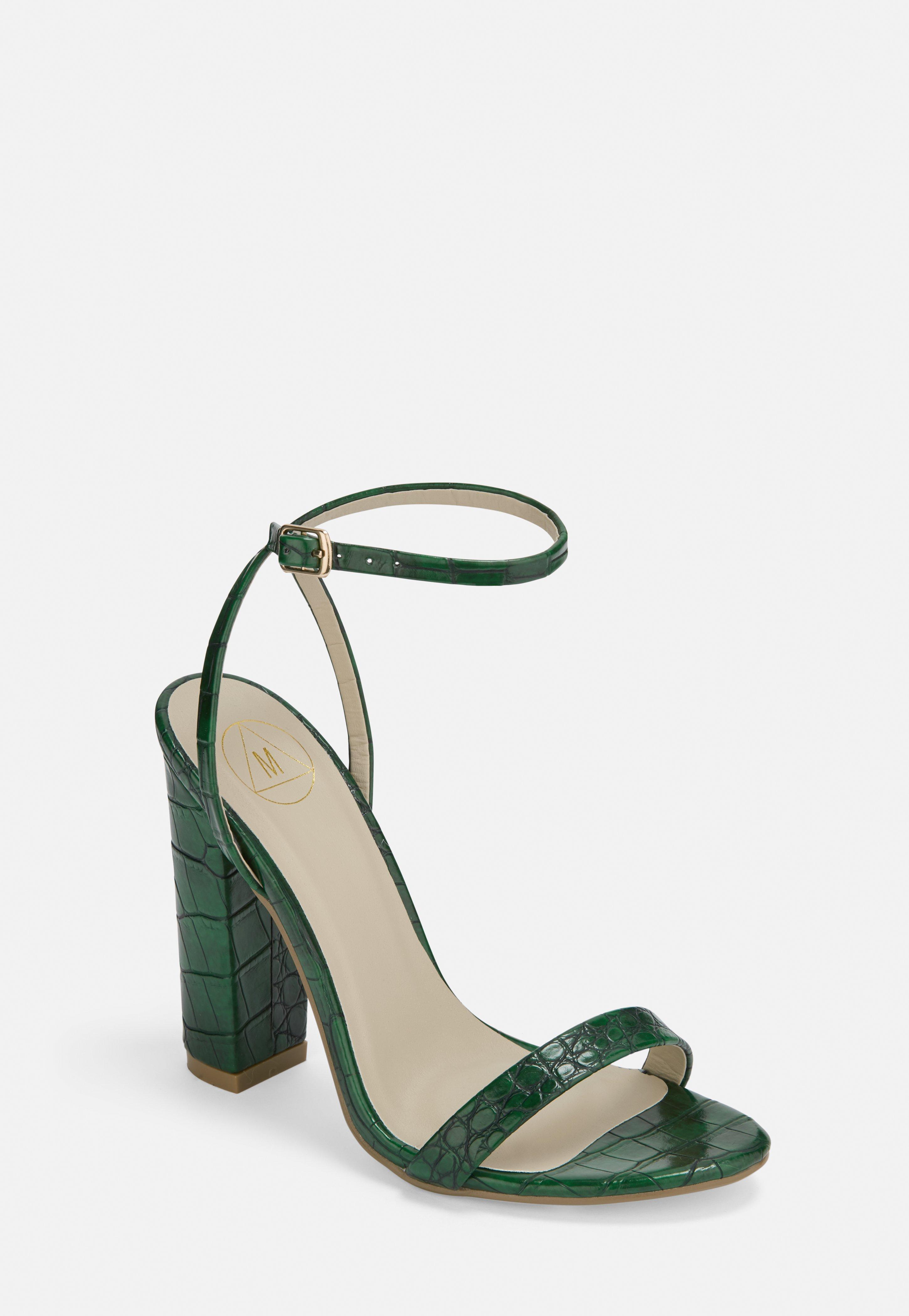 Green Heeled Croc Block Sandals Print mNn8Ov0w