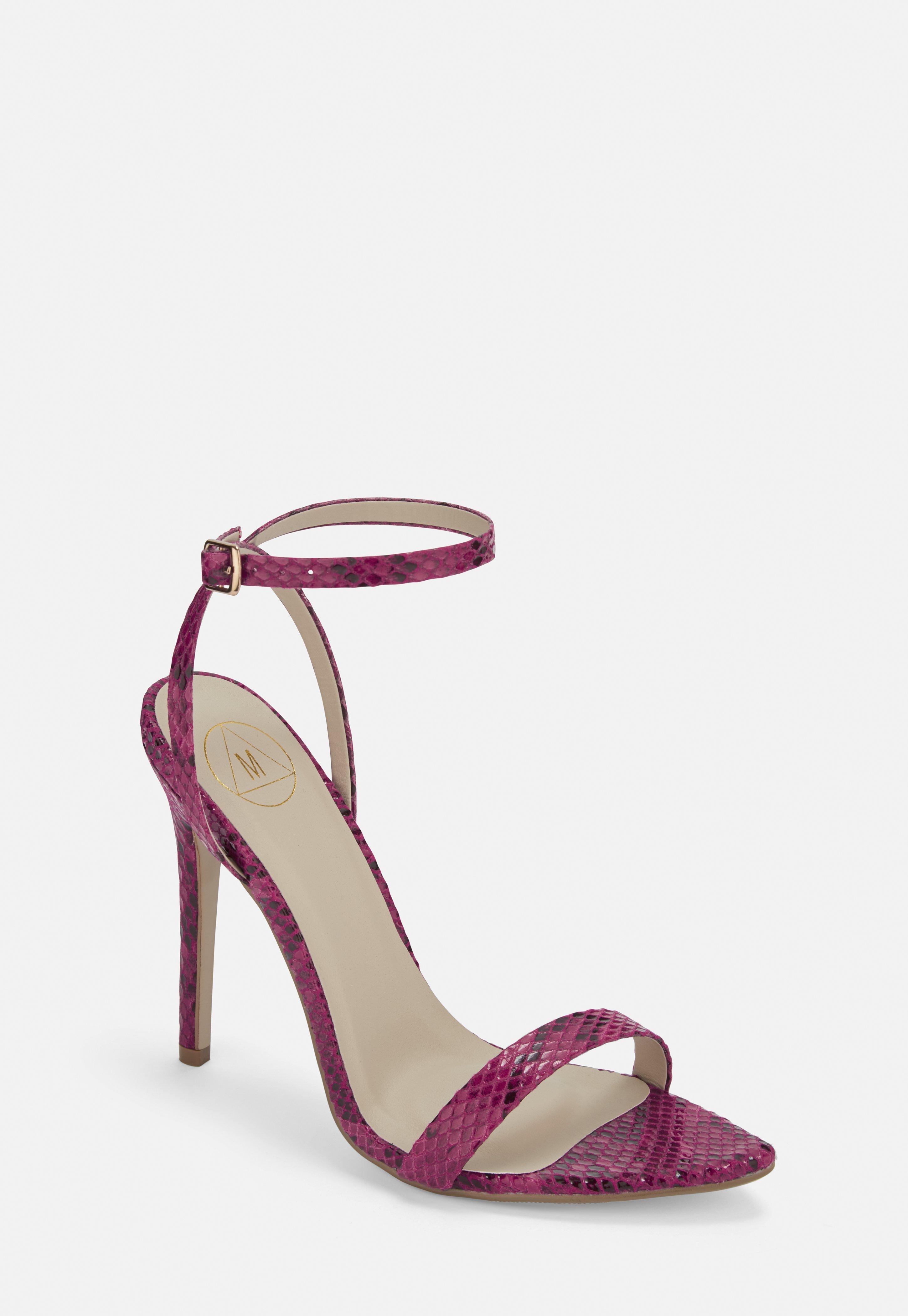 4772697eeee Raspberry Snake Print Pointed Toe Barely There Heels