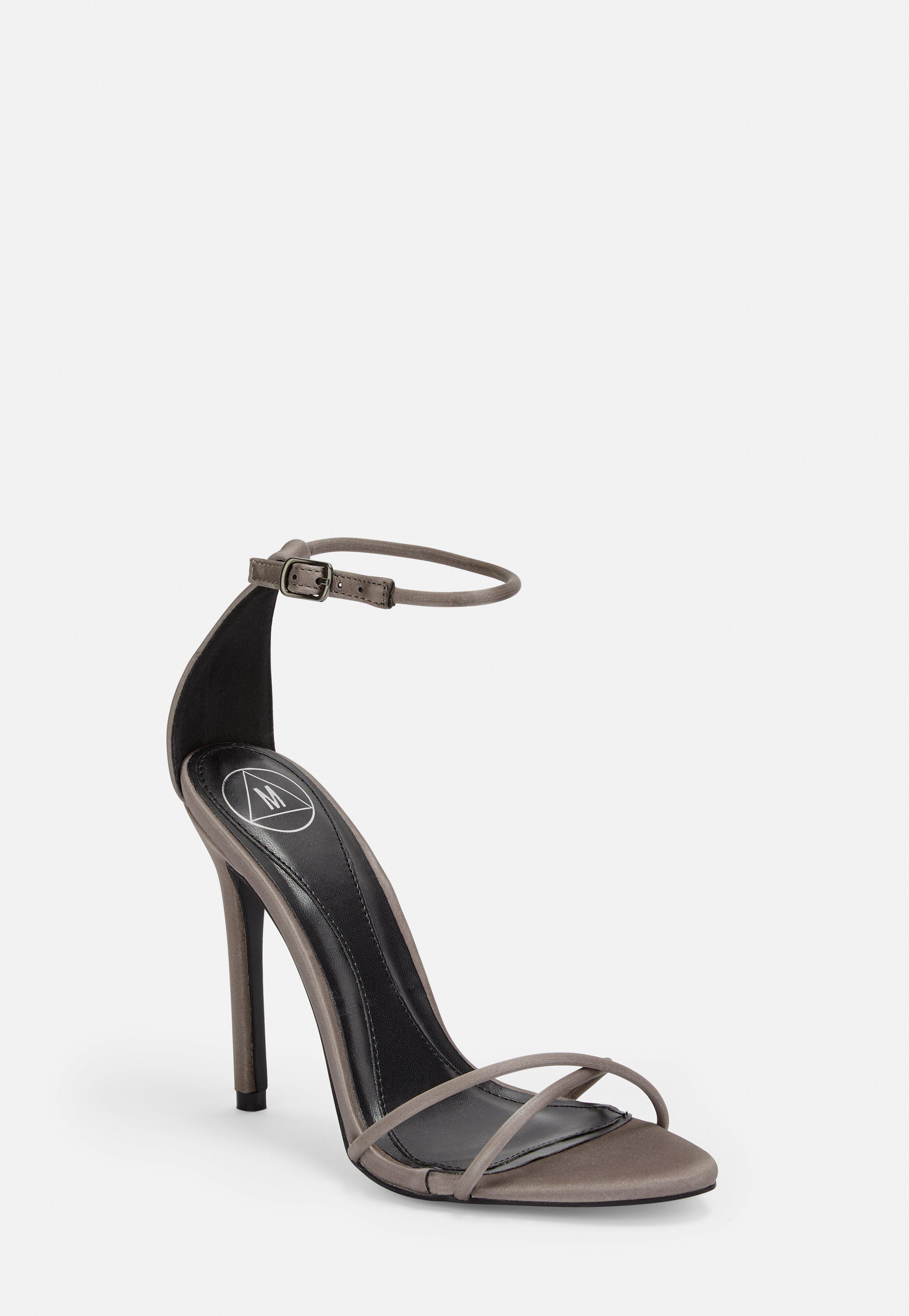 Strap Grey Cross Faux Leather Stiletto Heels m8Nn0wvO