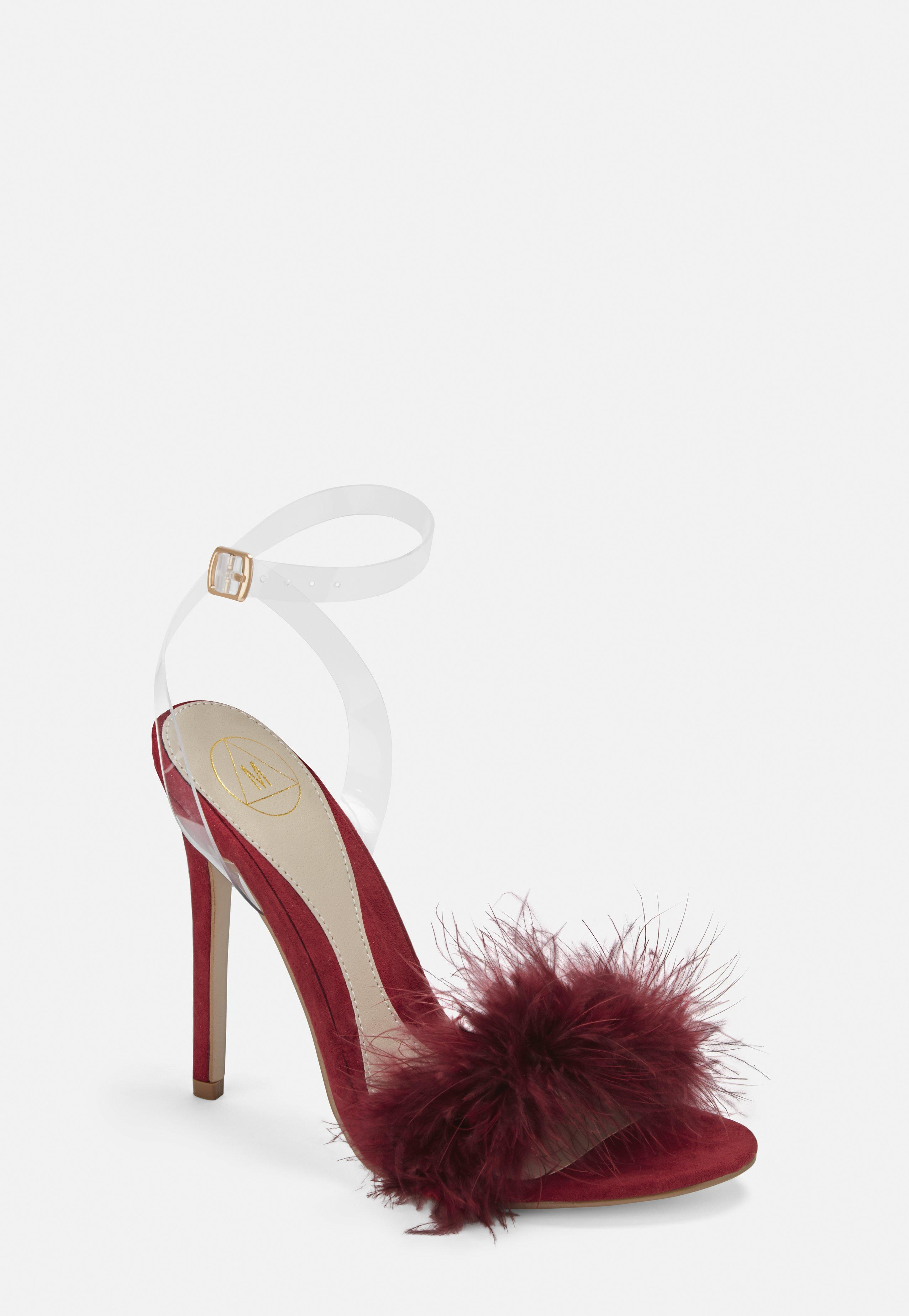 2a230a319ea40 Burgundy Feather Detail Barely There Heels