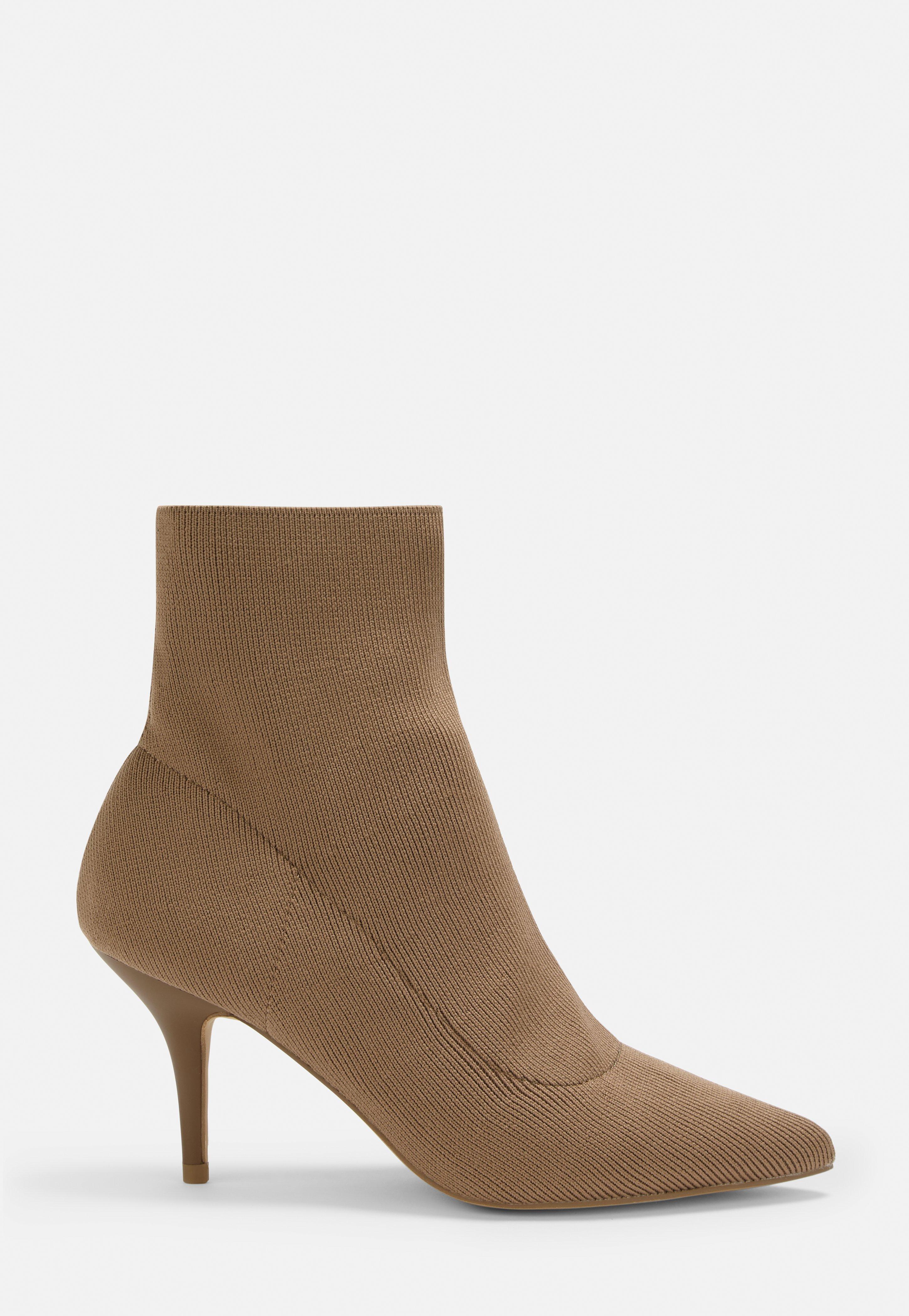 a85987294a4 Tan Kitten Heel Knitted Sock Boots