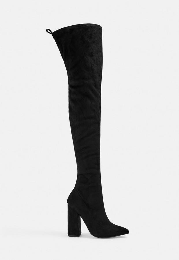 Black Block Heel Faux Suede Over The Knee Boots