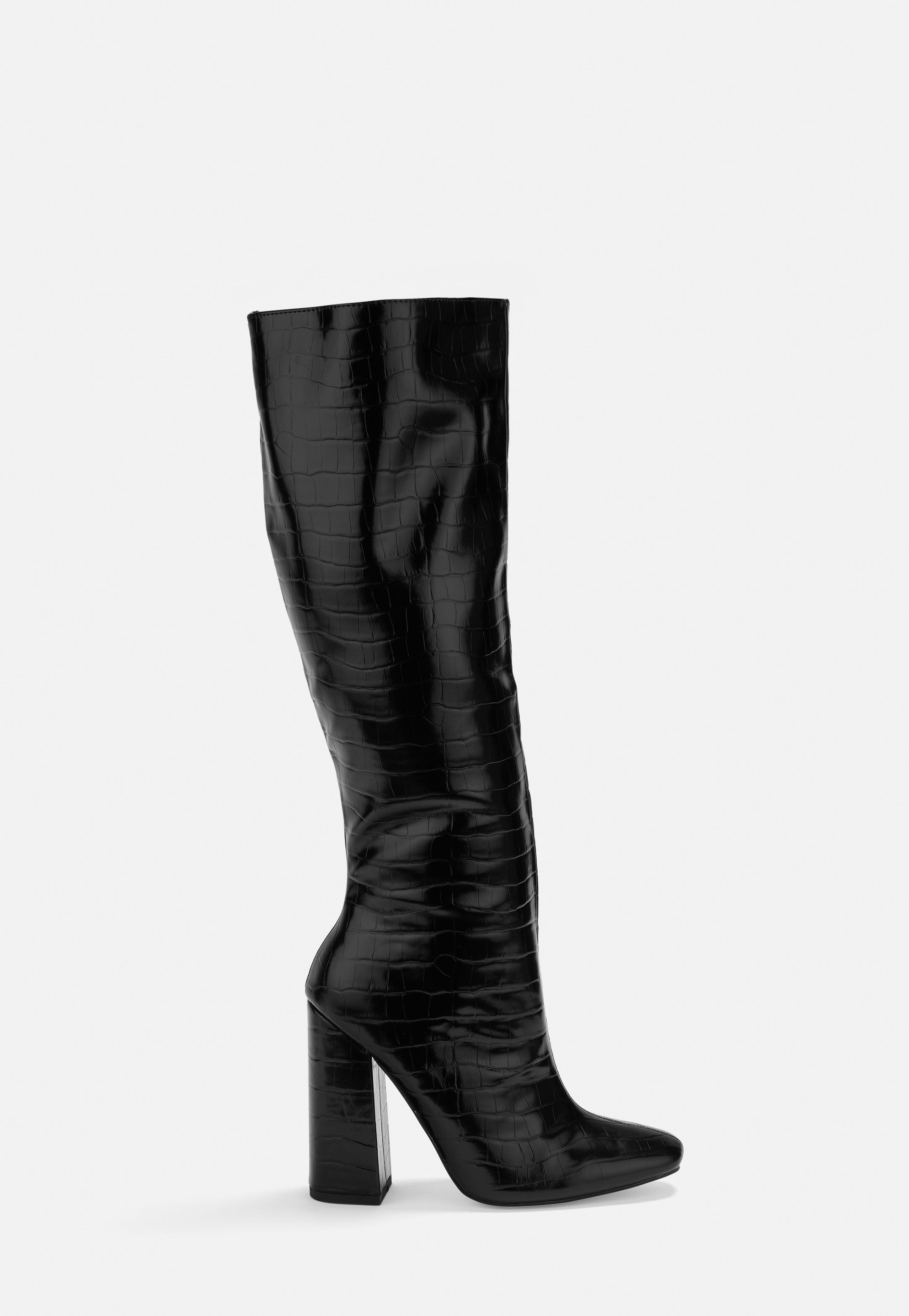 4ec8d8e7343 Black Croc Calf Height Heeled Boots