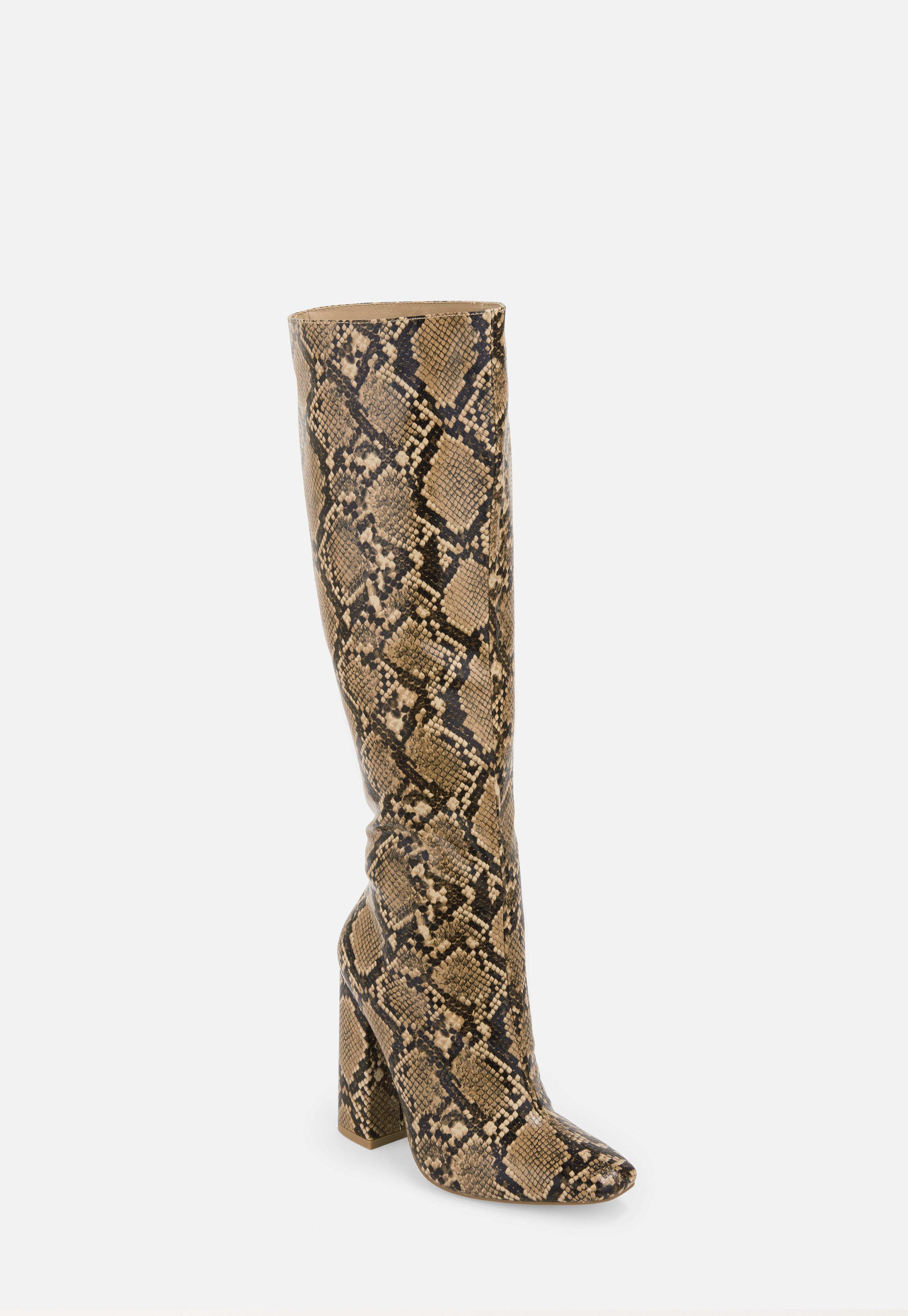 1b58e47ff6e Beige Snake Print Calf Height Heeled Boots