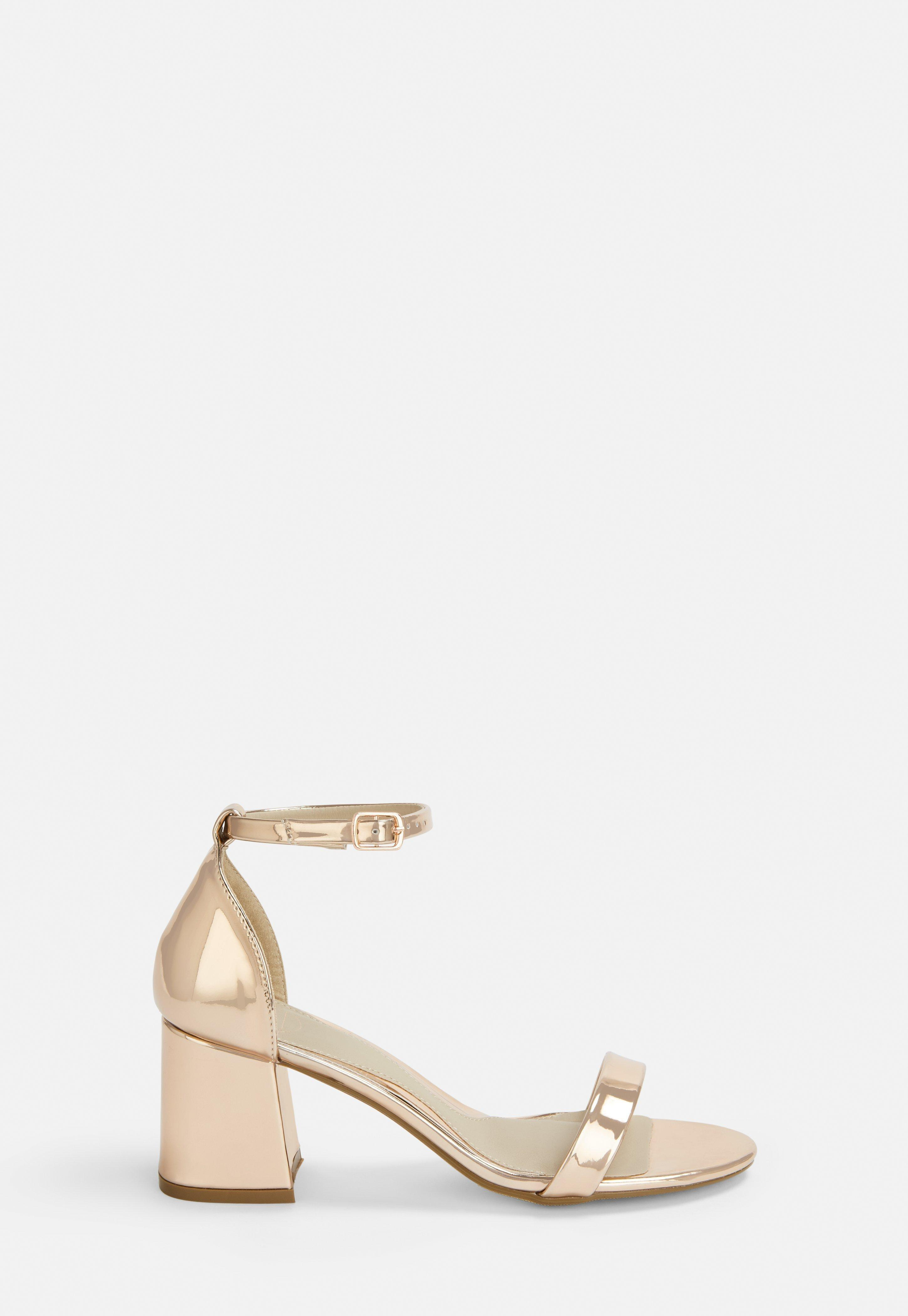 64cb9767c2f Rose Gold Mid Block Barely There Heels