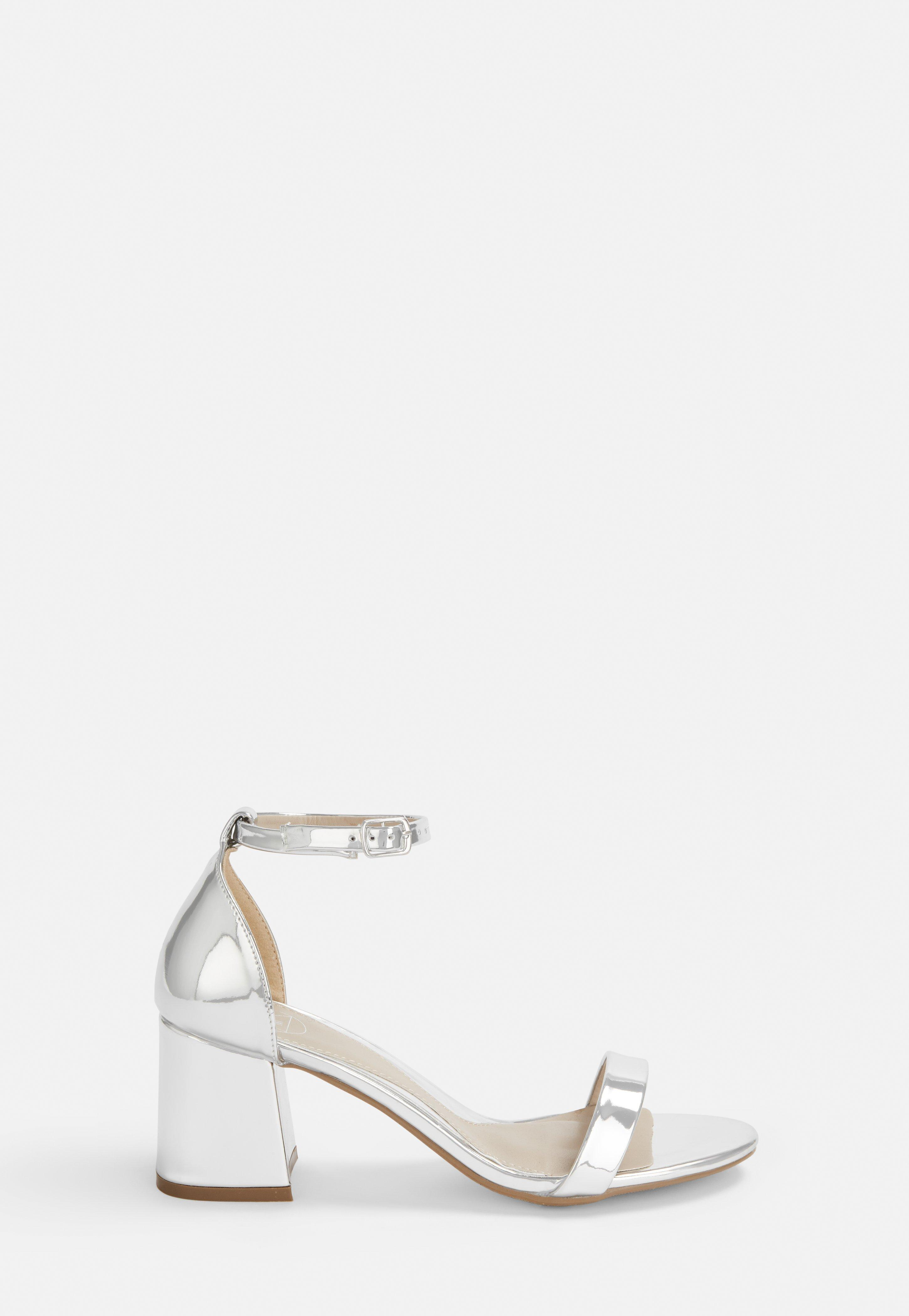 13c83e1055a Silver Mid Block Barely There Heels