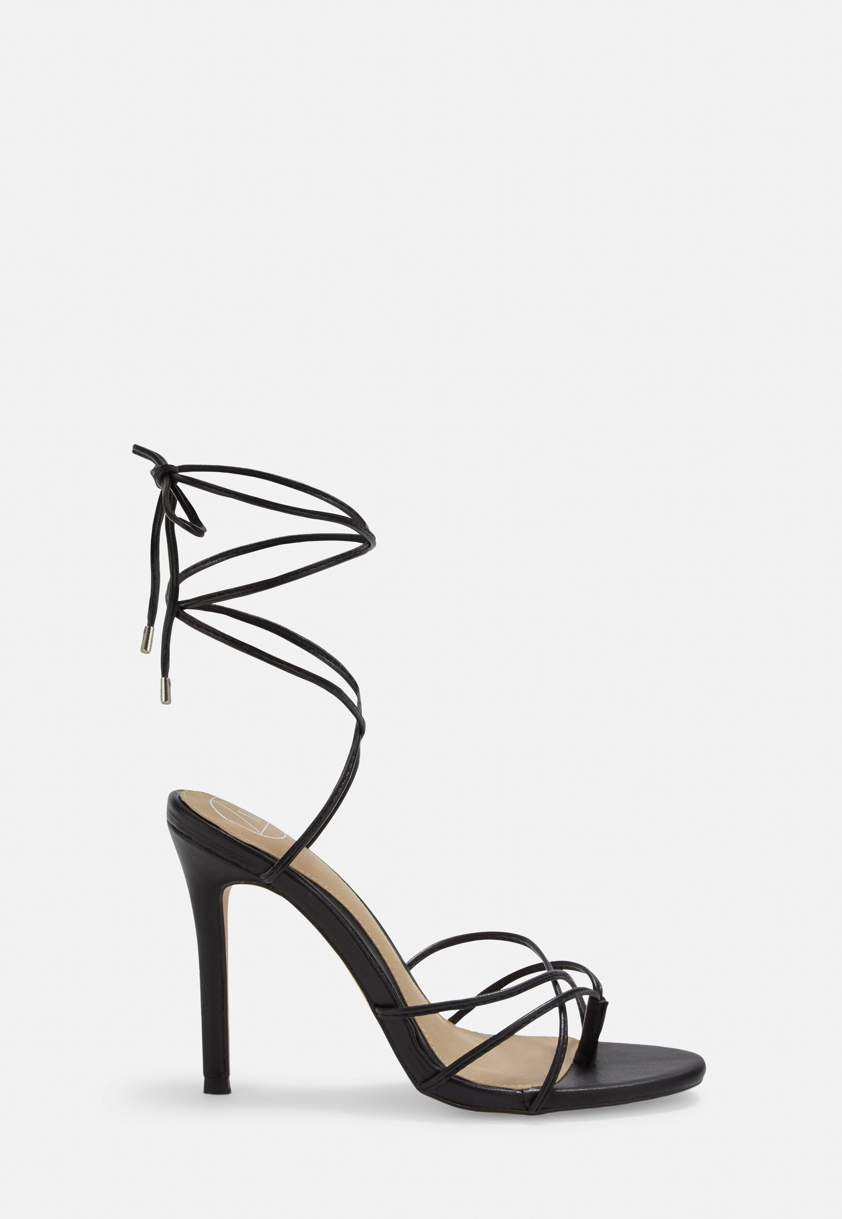 Black Strappy Toe Post Heeled Sandals