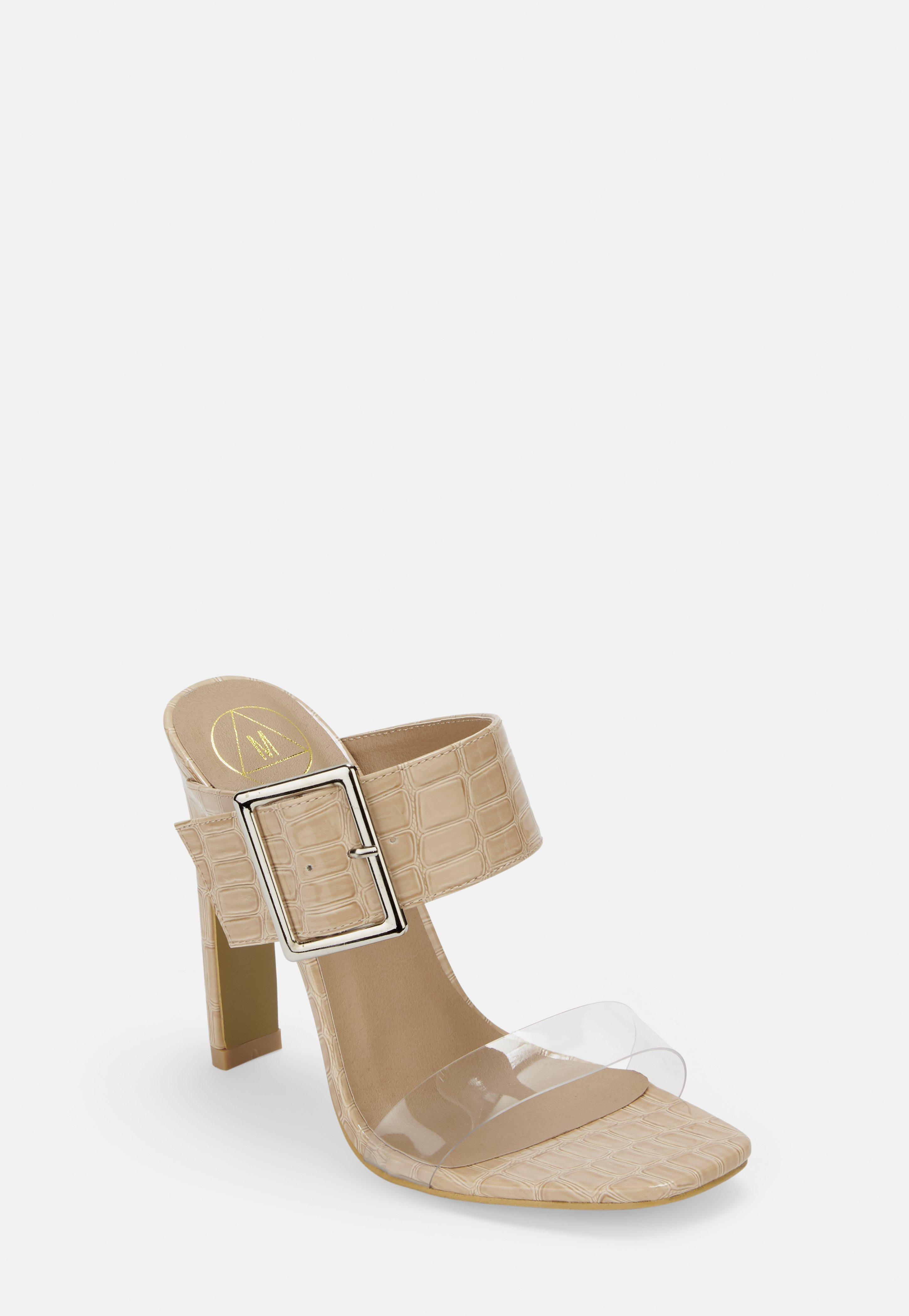 65a8a655db6 Nude Croc Texture Clear Mules