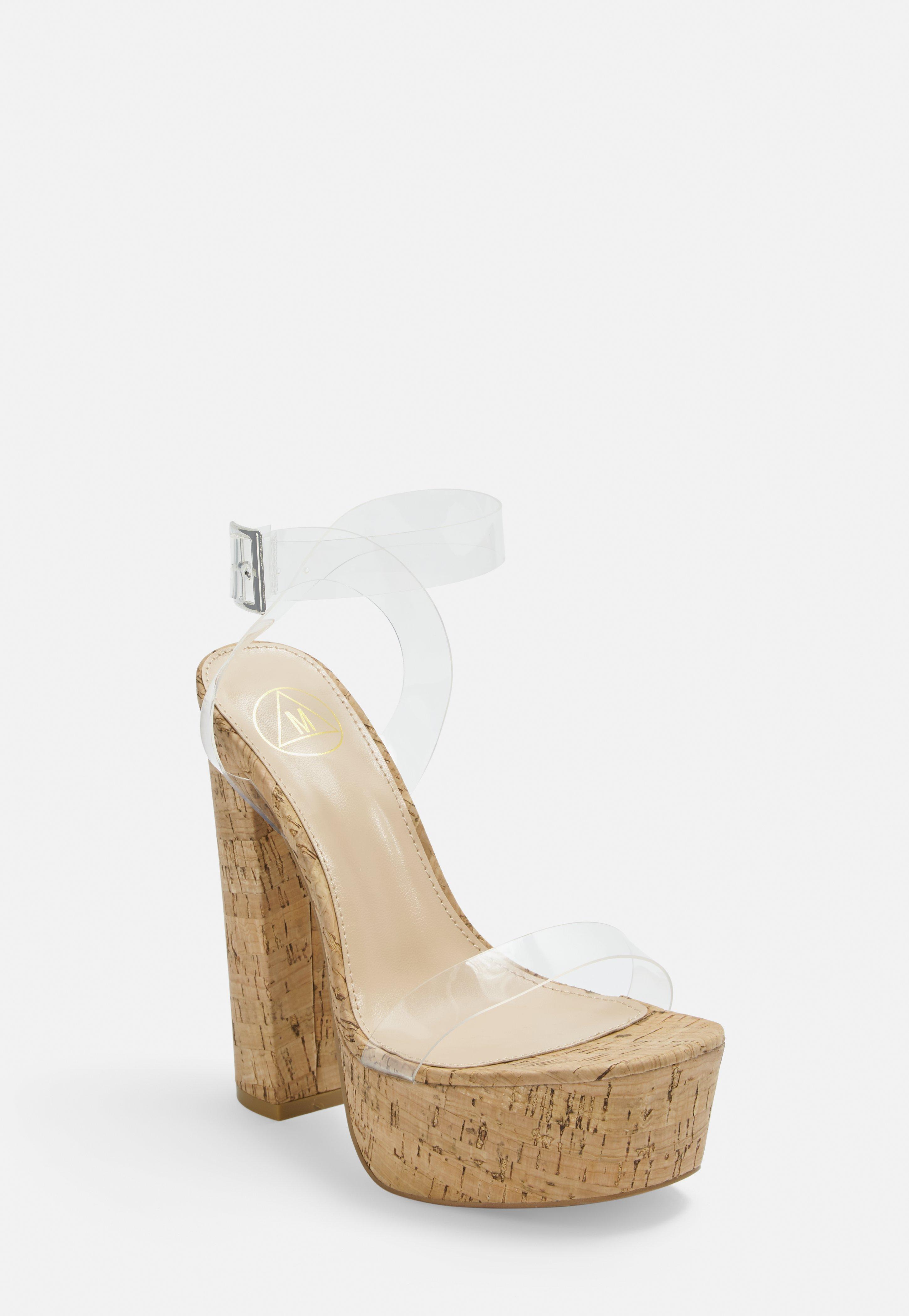 Nude Clear Cork Platform Heeled Sandals