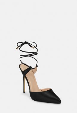 Черные атласные босоножки на шнуровке