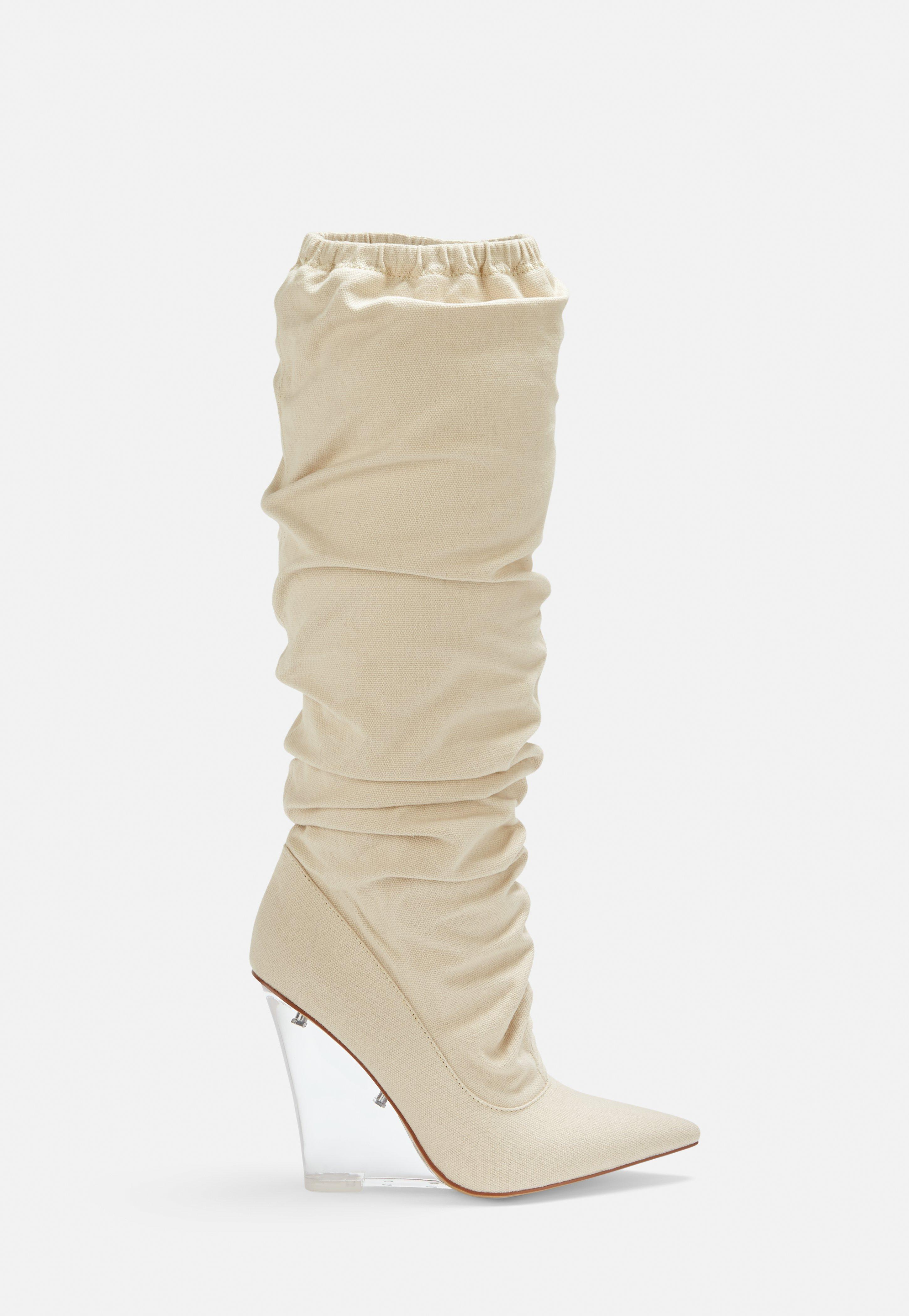 mode attrayante achat authentique brillance des couleurs Bottes beige à talons transparents