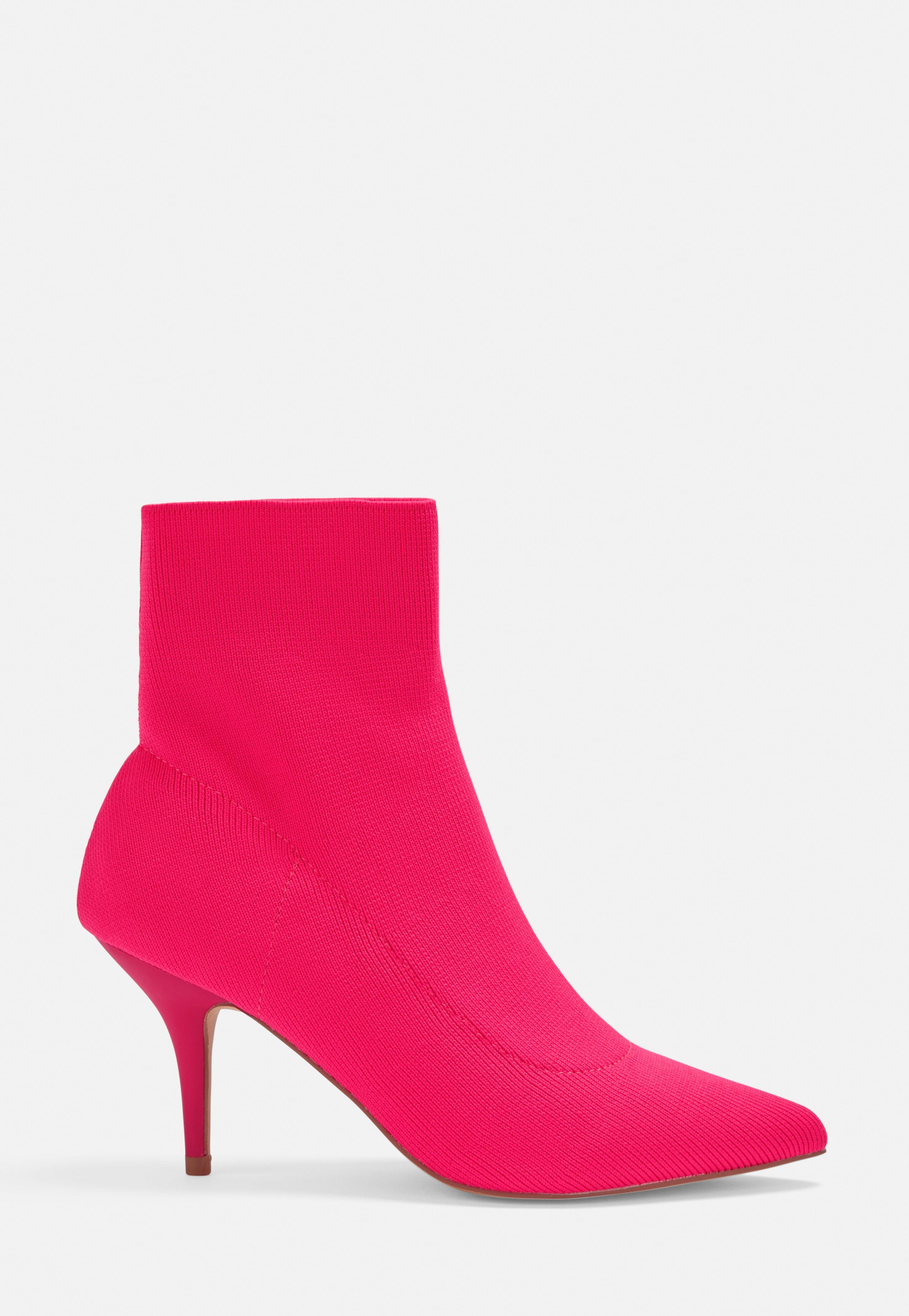 cbde724d44b Pink Kitten Heel Knitted Sock Boots