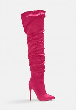 Pink Satin Ruched Long Slit Boots