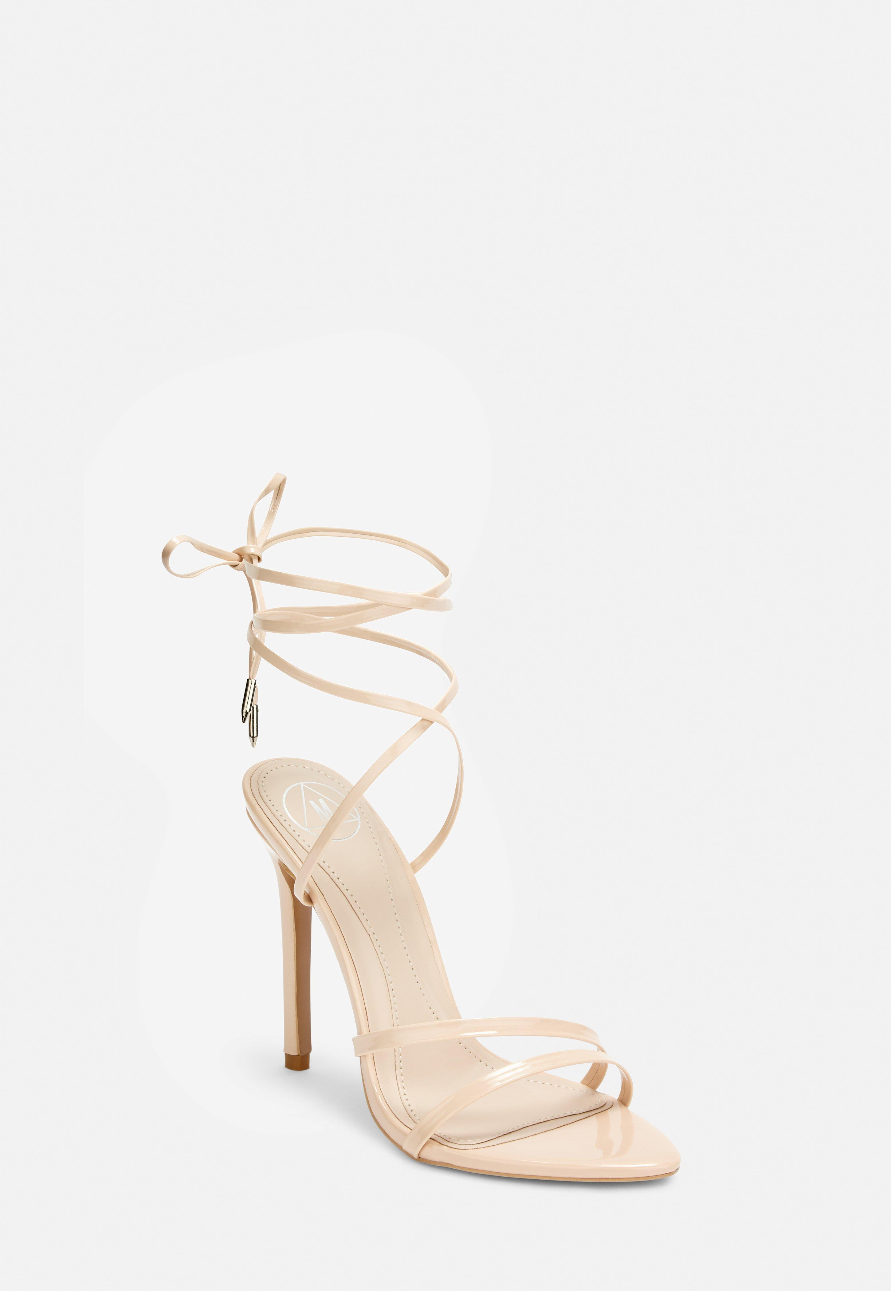 Pointed Lace Heeled Nude Toe Up Sandals ZPXkOiuT