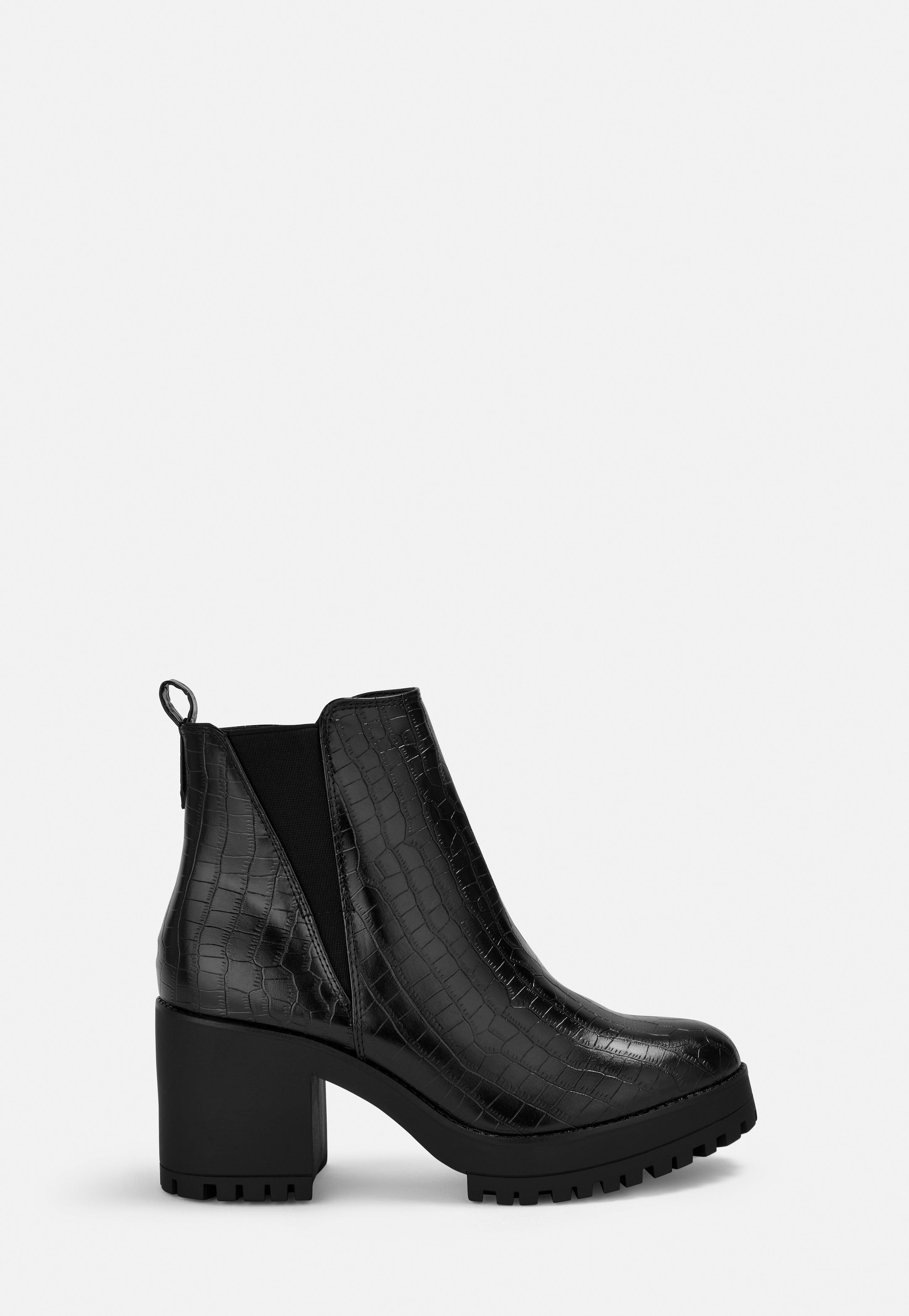 Black Croc Effect Chunky Chelsea Ankle Boots