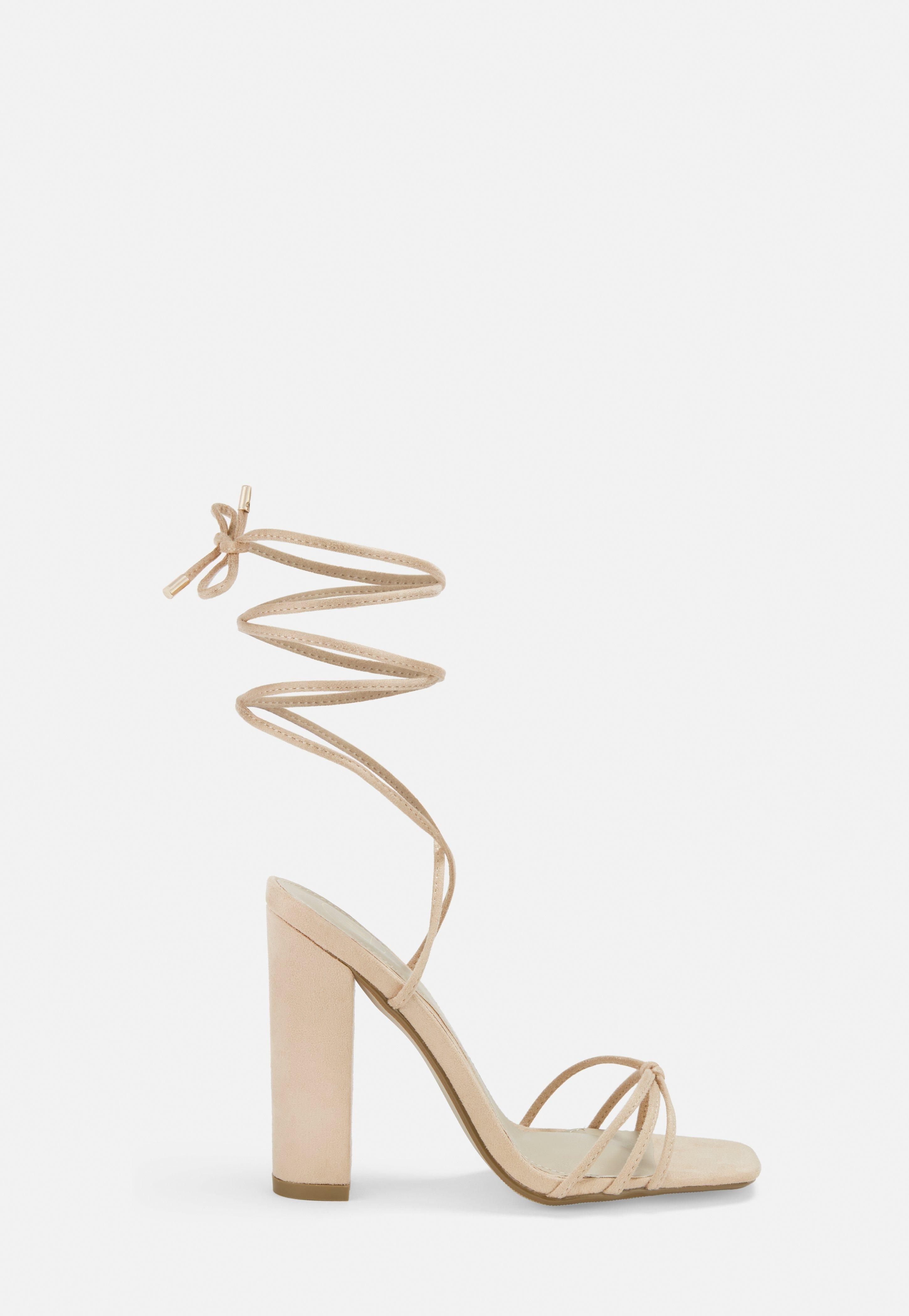 Nude Faux Suede Lace Up Block Heels