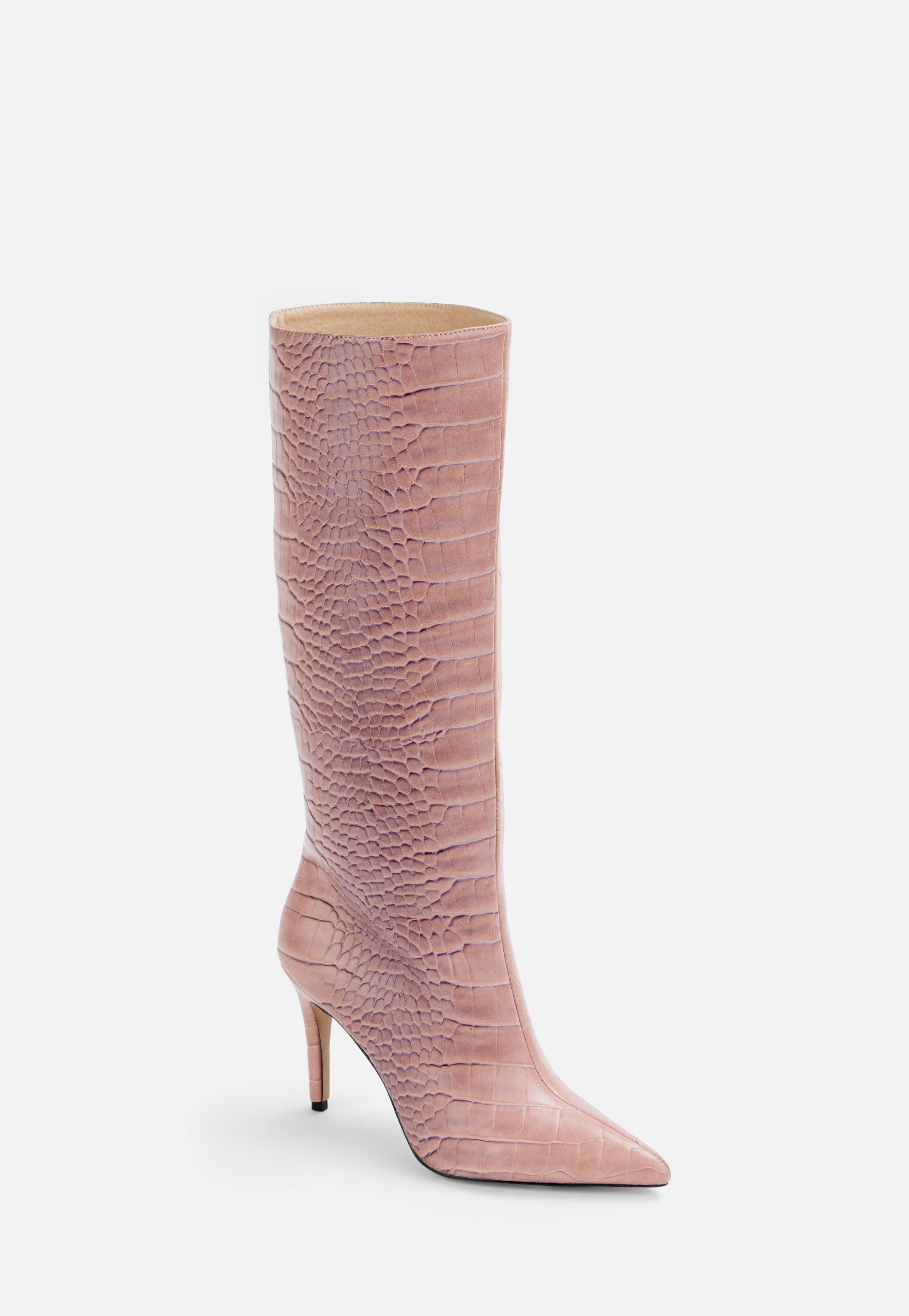 unparalleled discount great fit Pink Mock Croc Mid Heel Knee High Boots