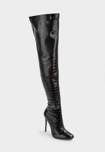 Black Mock Croc Tubular Heeled Over The Knee Boots by Missguided