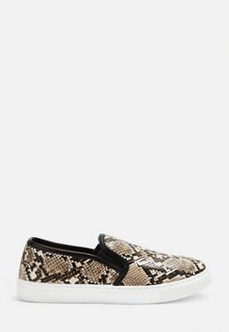 Cieliste wsuwane buty tenisówki w w??owy wzór