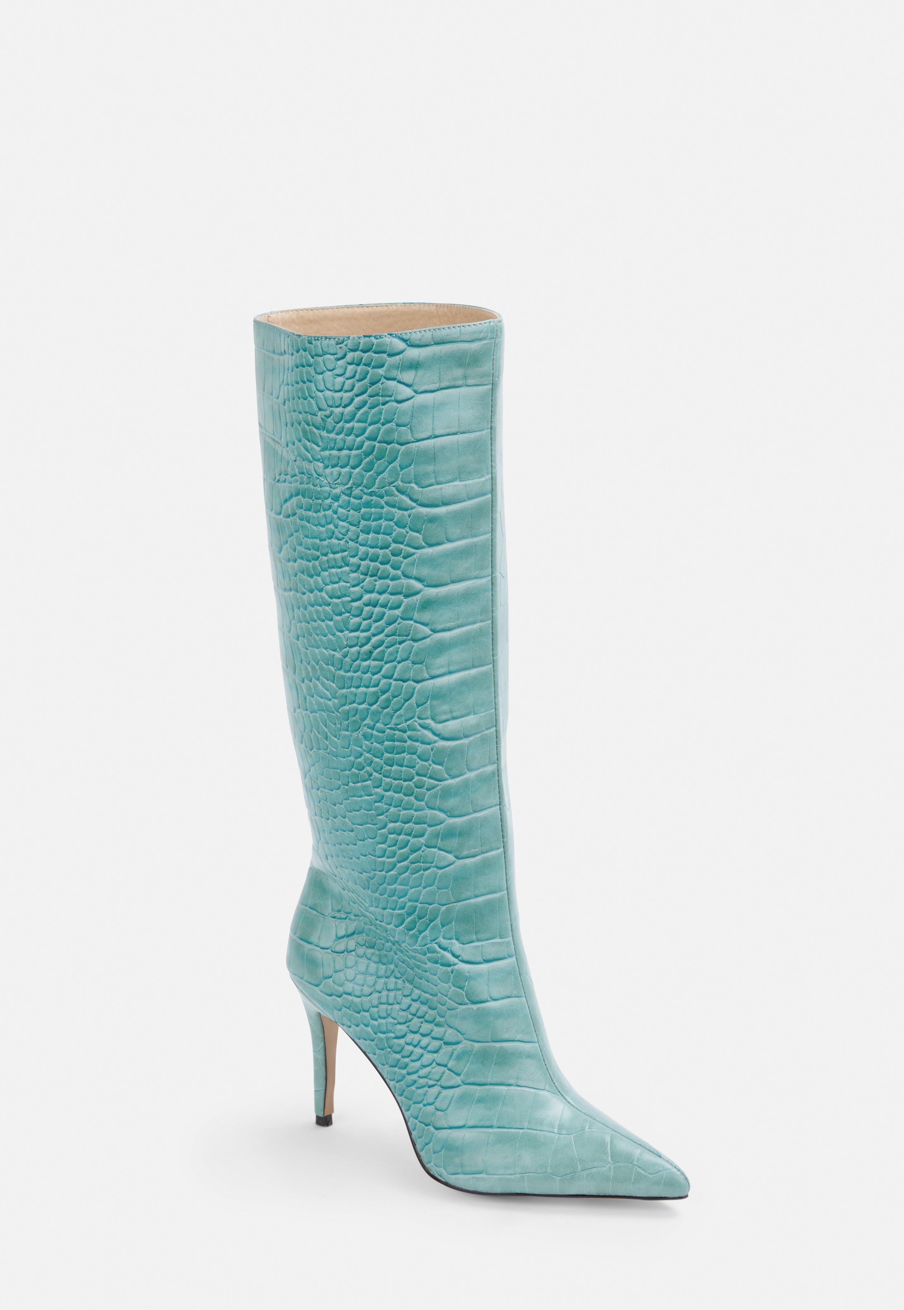 competitive price b5e8b 07abf Blue Mock Croc Mid Heel Knee High Boots