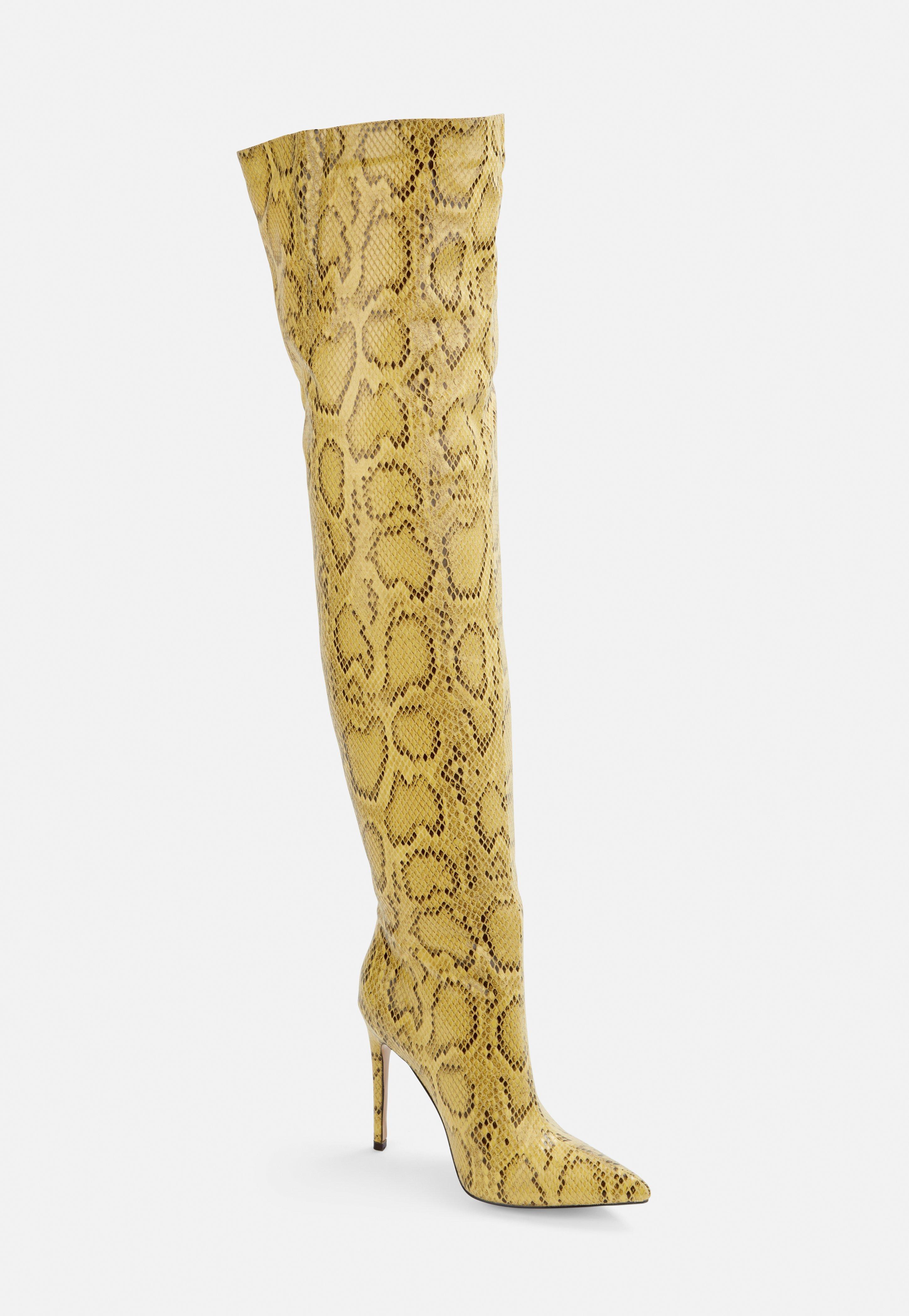 Stiefel Und Schlangenmuster Stilettoabsatz Mit Gelb In Overknee m0OvN8nw