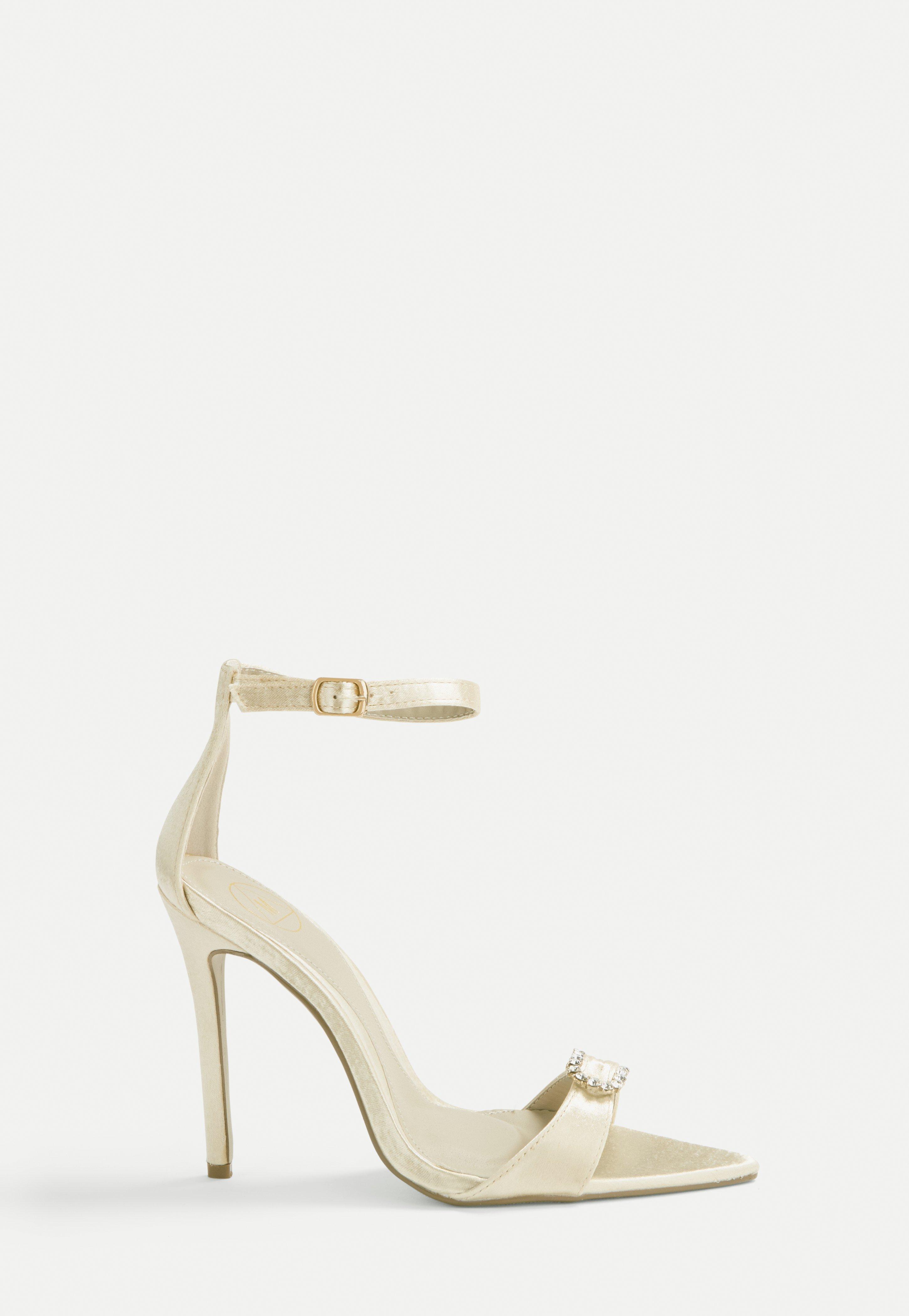 Nude Satin Diamante Heeled Sandals