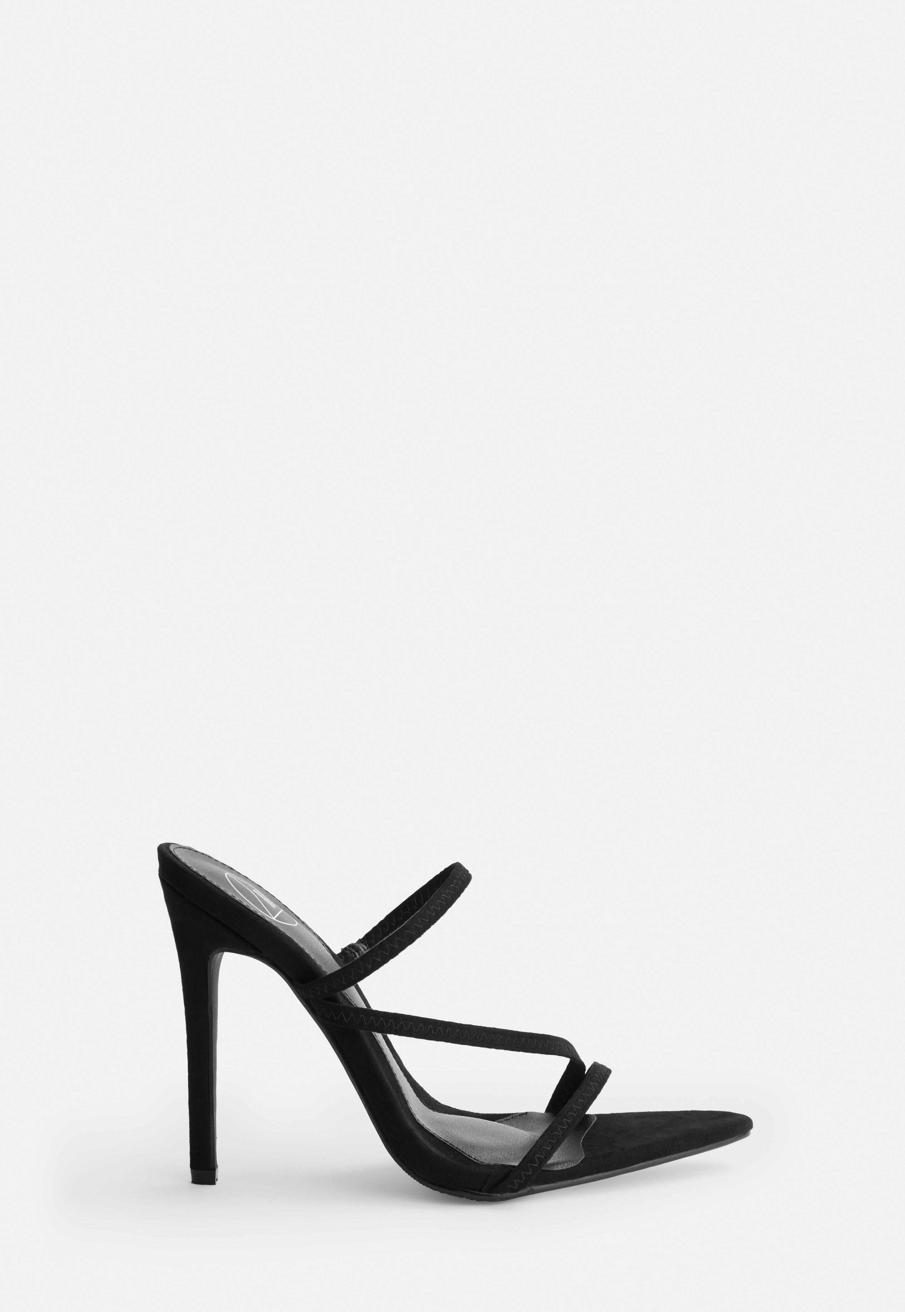 Black Faux Suede Pointed Toe Triple Strap Heels