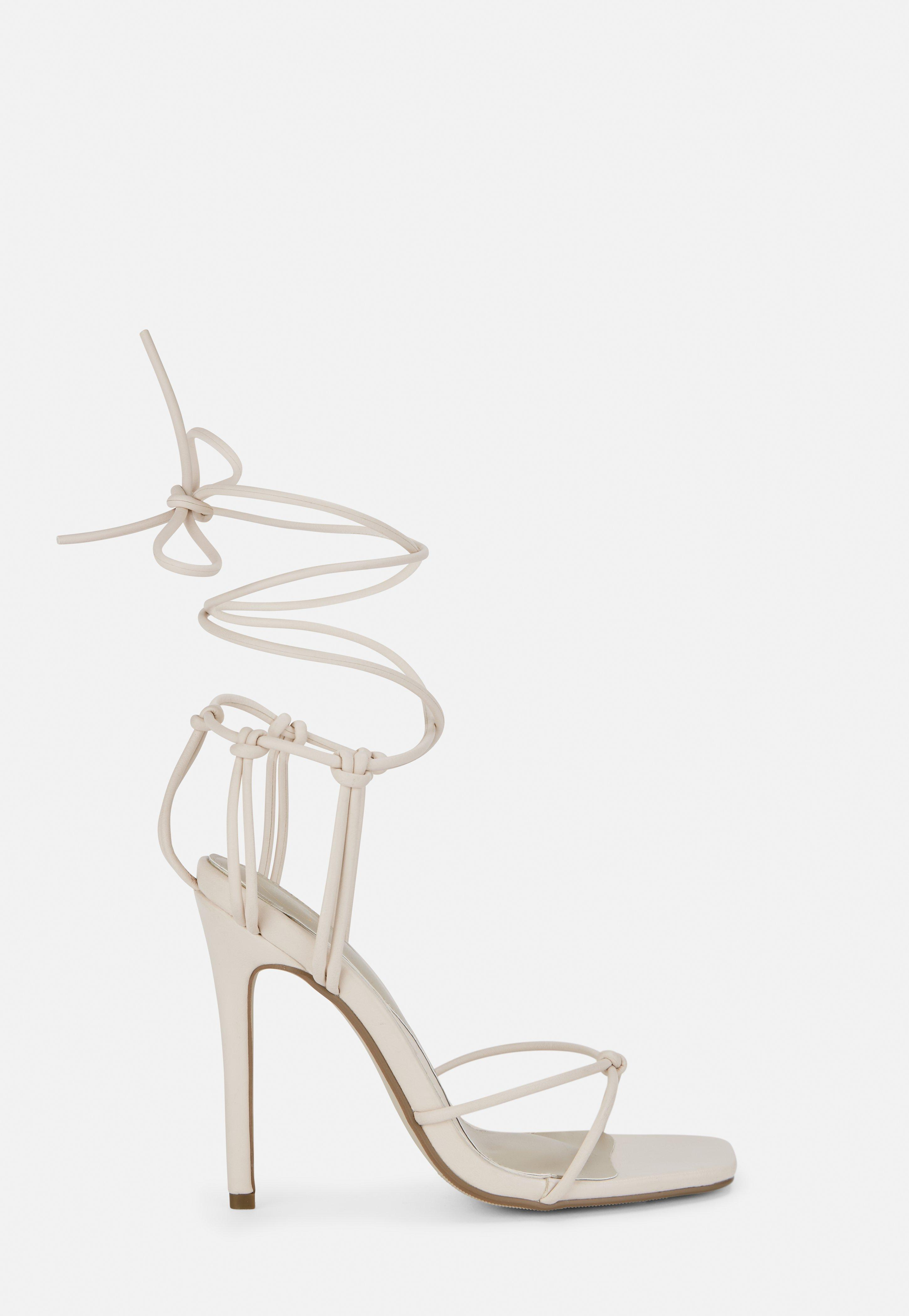 Nude Square Toe Strappy Knot Heels