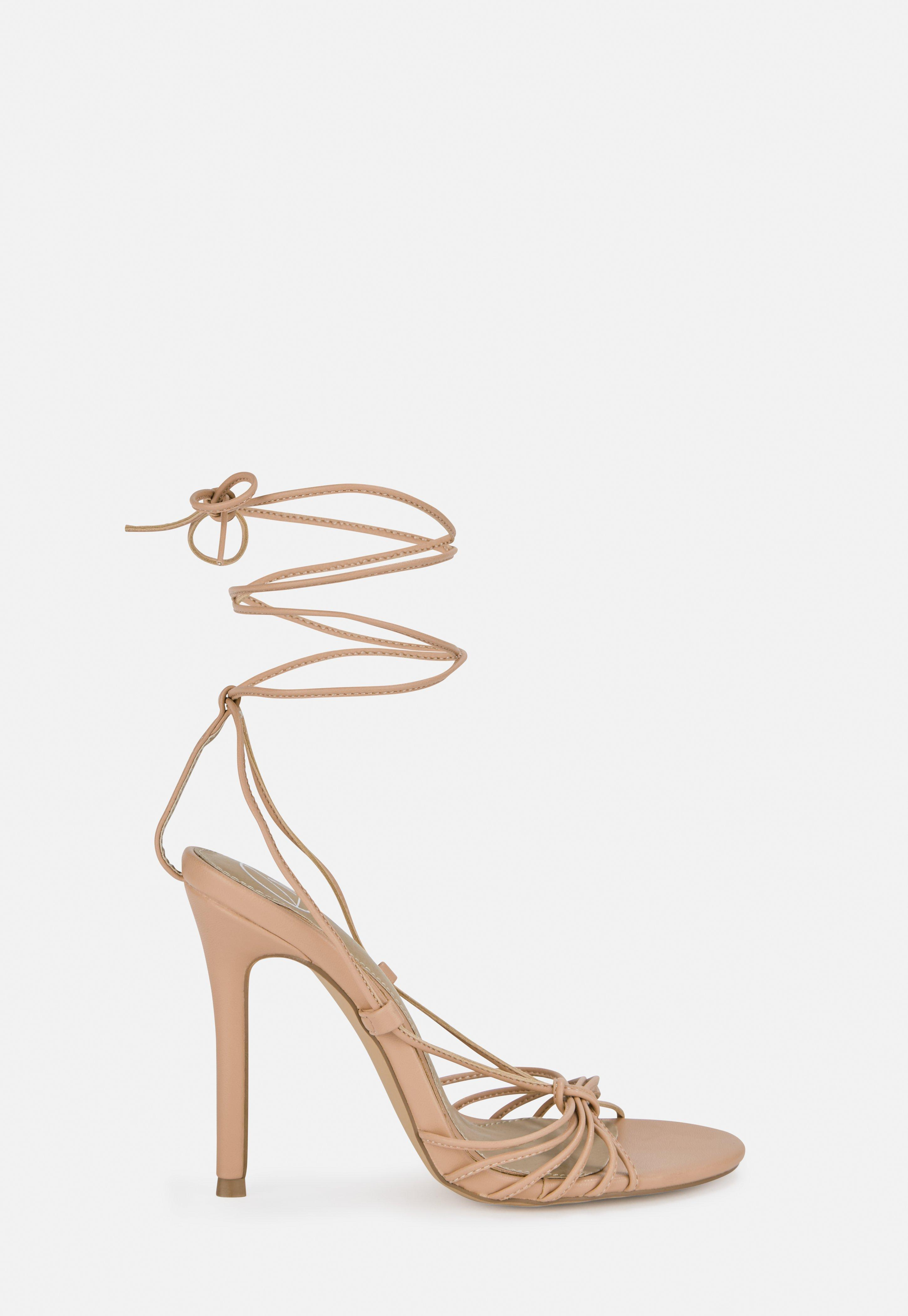 Nude Knotted Strappy Stilettos
