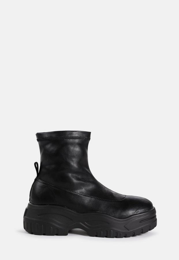 Black Chunky Sole Sock Boots