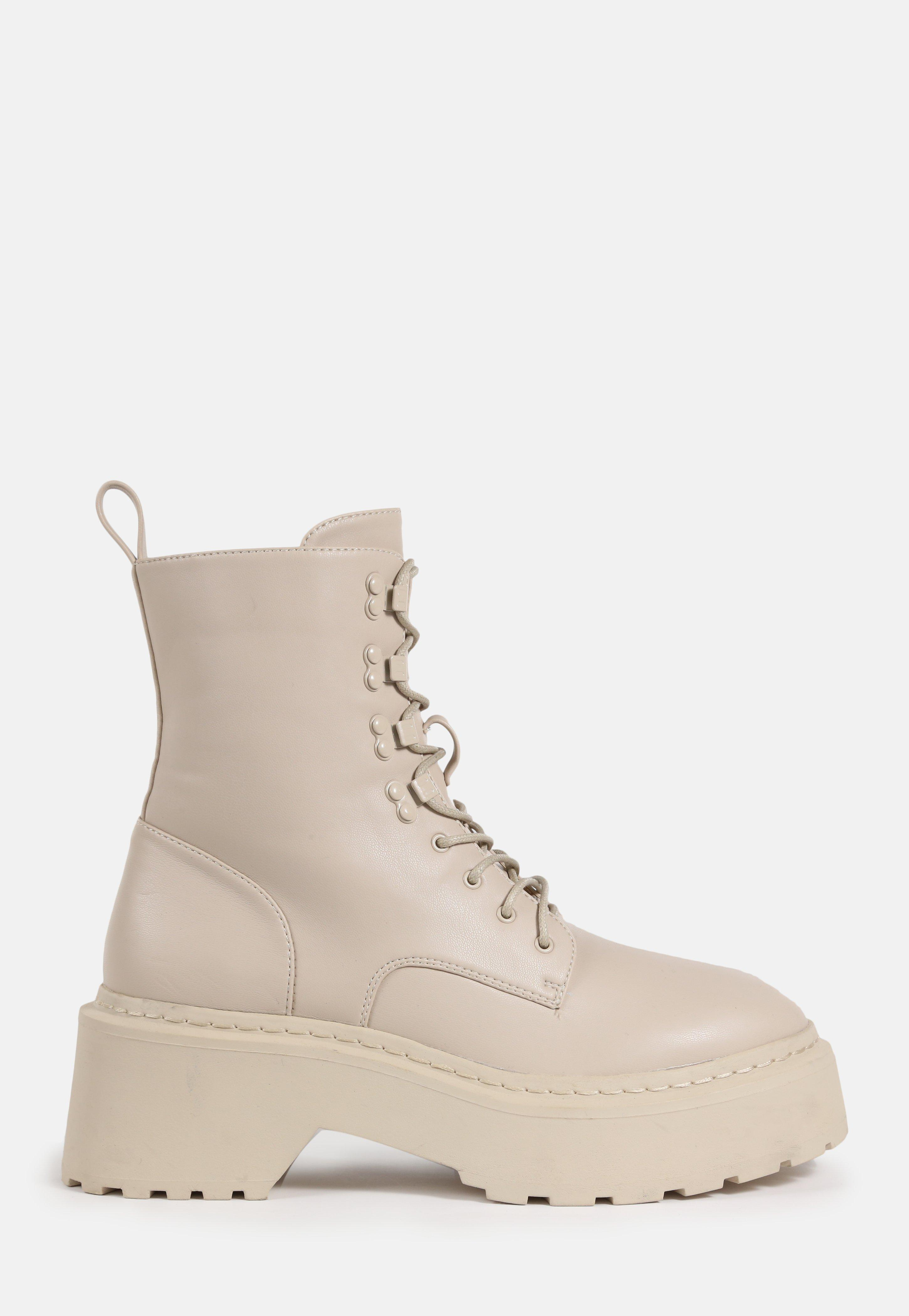 Cream Lace Up Chunky Sole Ankle Boots