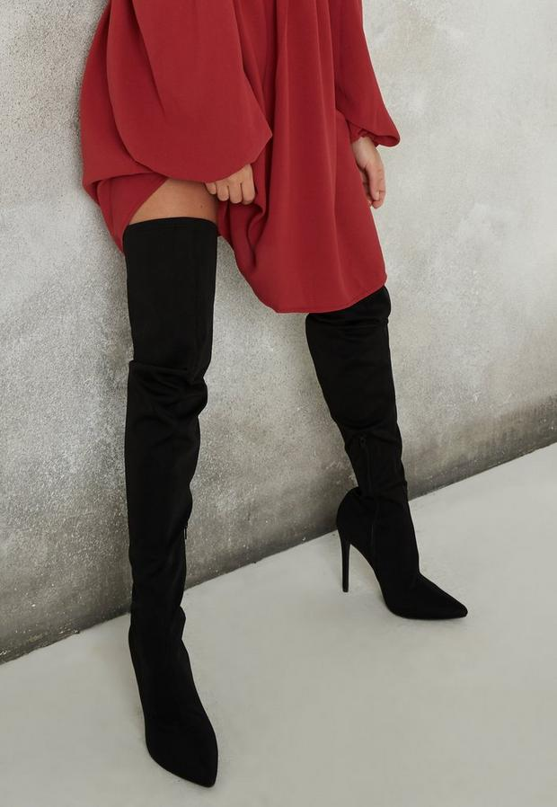 Black Faux Suede Mid Heel Over The Knee Boots